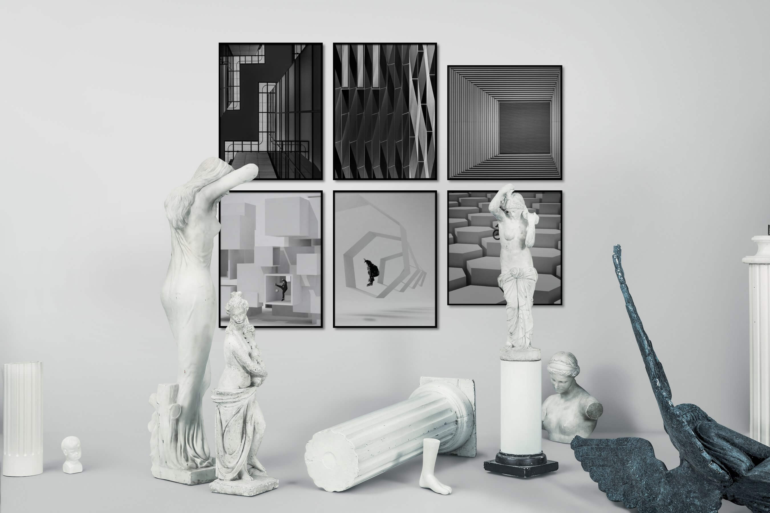 Gallery wall idea with six framed pictures arranged on a wall depicting Black & White, For the Maximalist, For the Moderate, and For the Minimalist