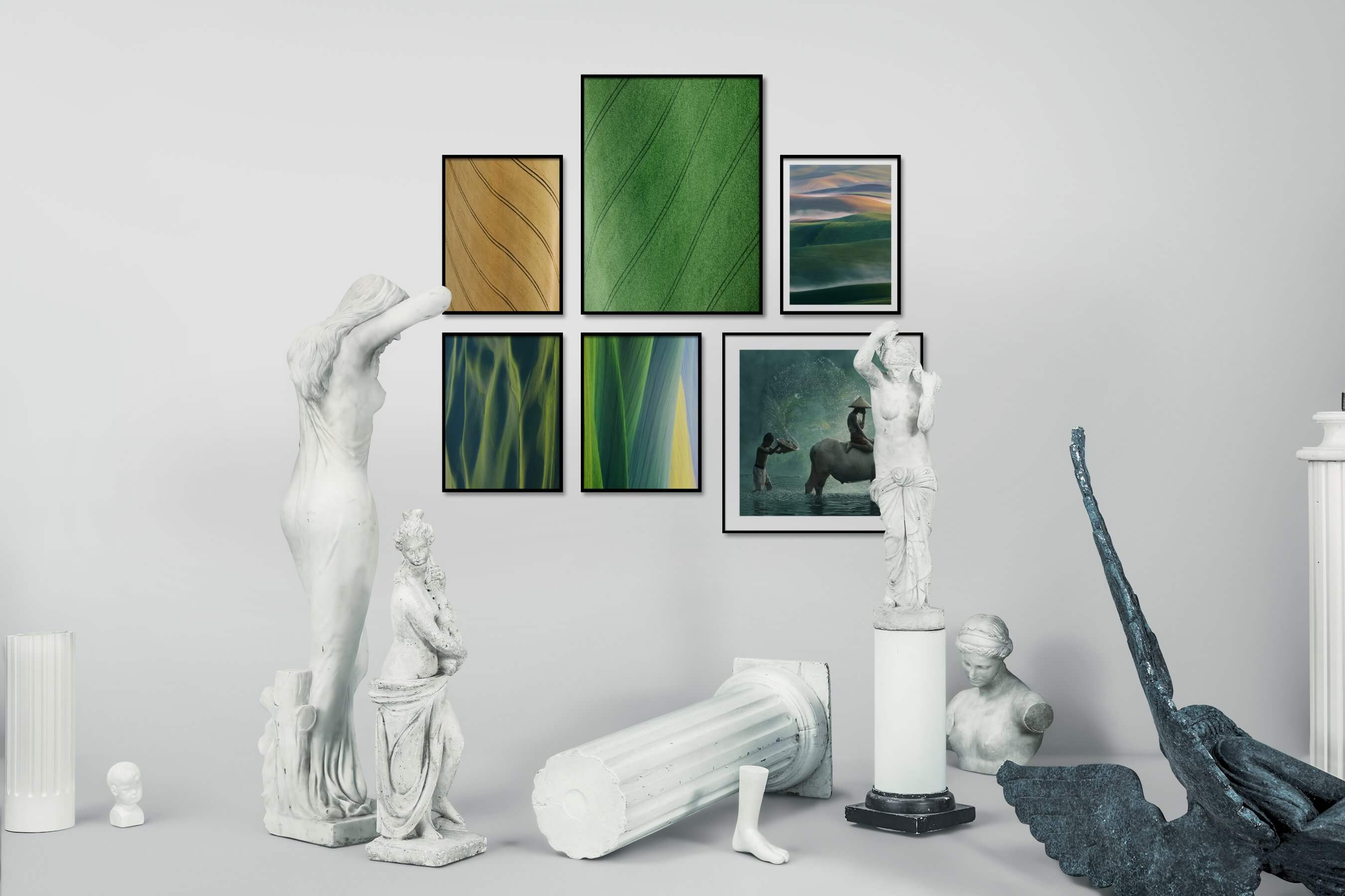 Gallery wall idea with six framed pictures arranged on a wall depicting For the Minimalist, Country Life, For the Moderate, Beach & Water, and Mindfulness
