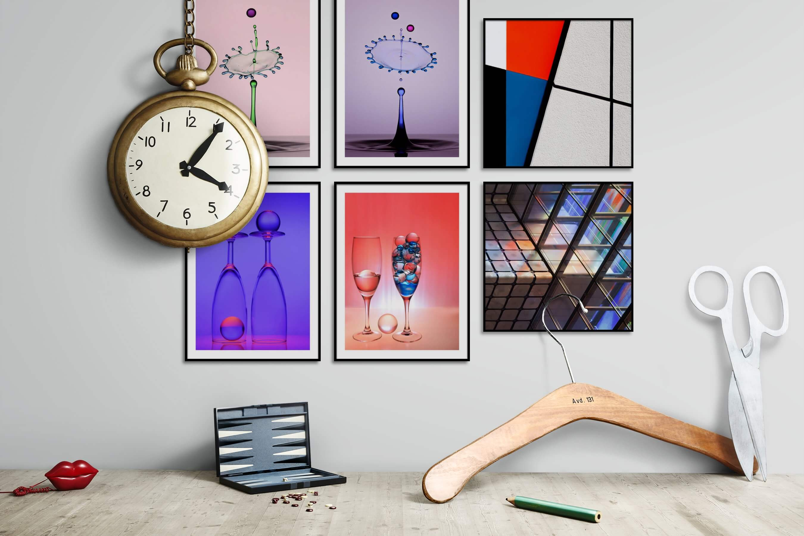 Gallery wall idea with six framed pictures arranged on a wall depicting For the Minimalist, Colorful, For the Moderate, and For the Maximalist