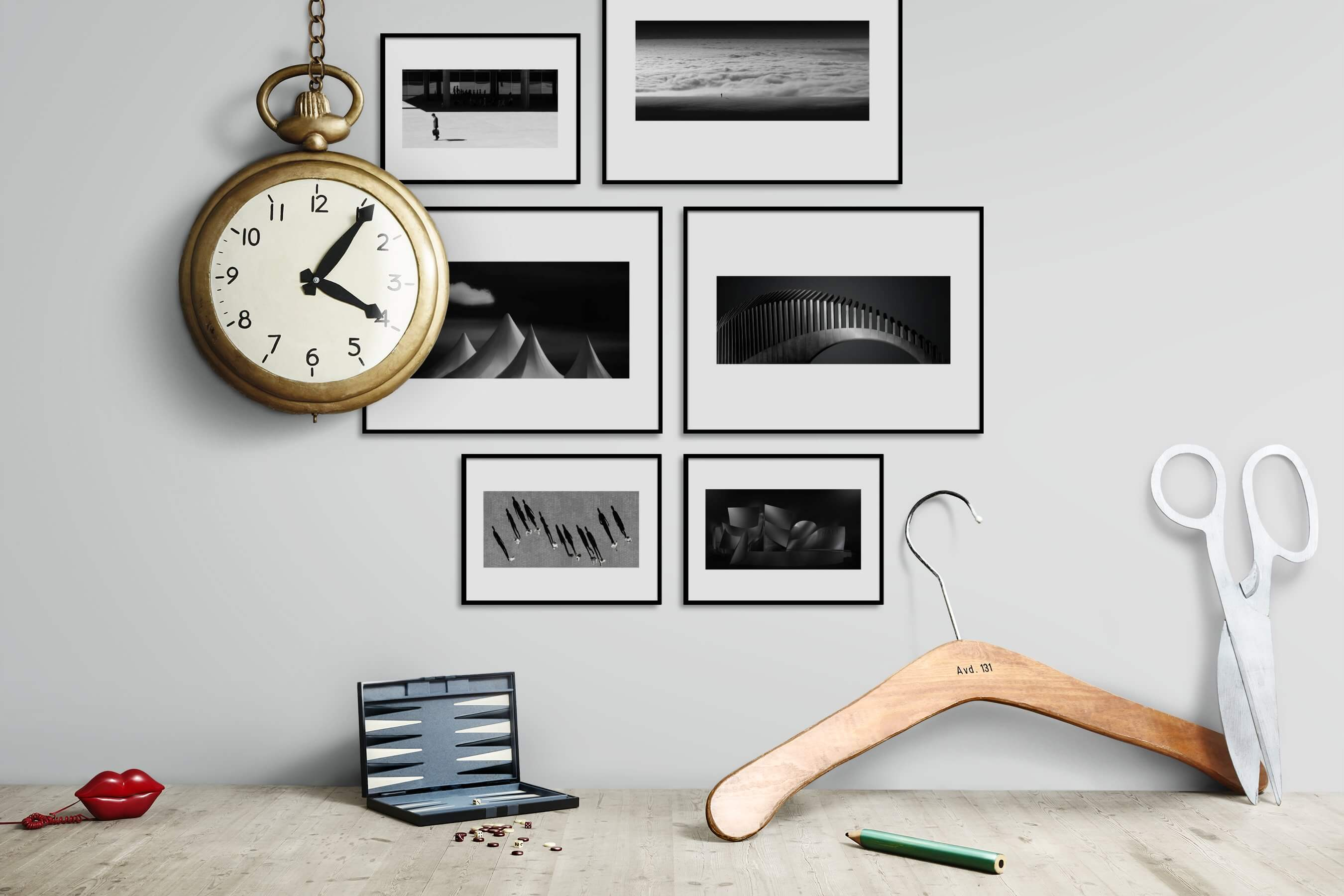 Gallery wall idea with six framed pictures arranged on a wall depicting Black & White, For the Minimalist, City Life, Nature, Mindfulness, For the Moderate, and Americana