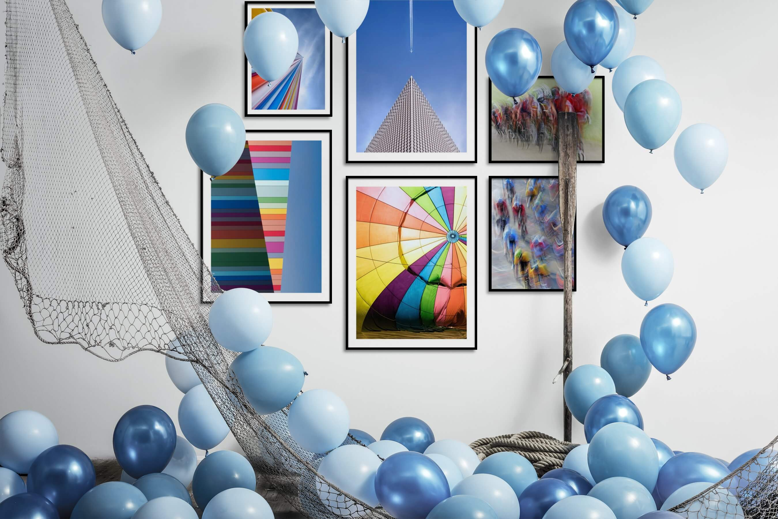 Gallery wall idea with six framed pictures arranged on a wall depicting For the Moderate, For the Minimalist, For the Maximalist, and Colorful