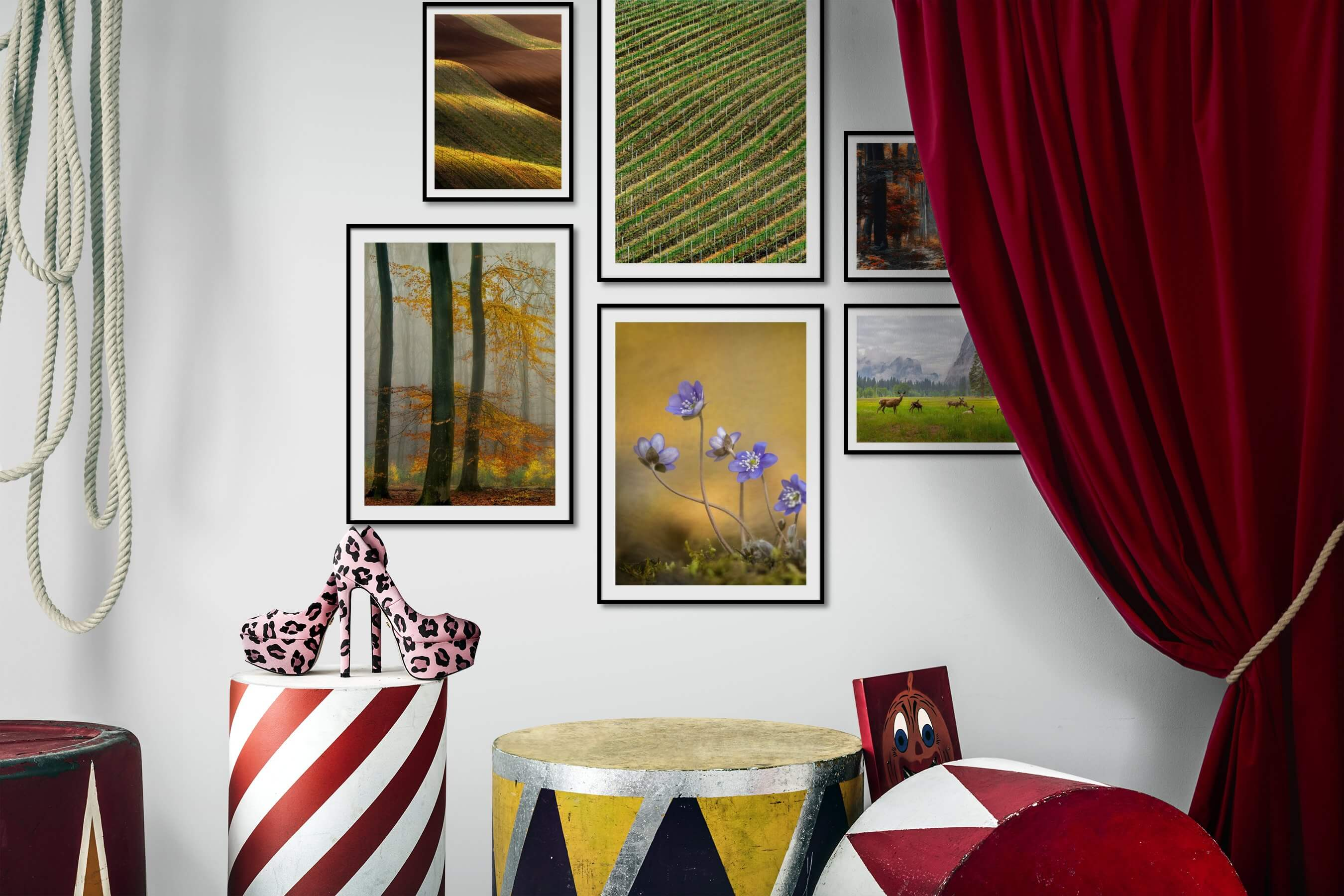 Gallery wall idea with six framed pictures arranged on a wall depicting For the Moderate, Country Life, Nature, Flowers & Plants, and Animals