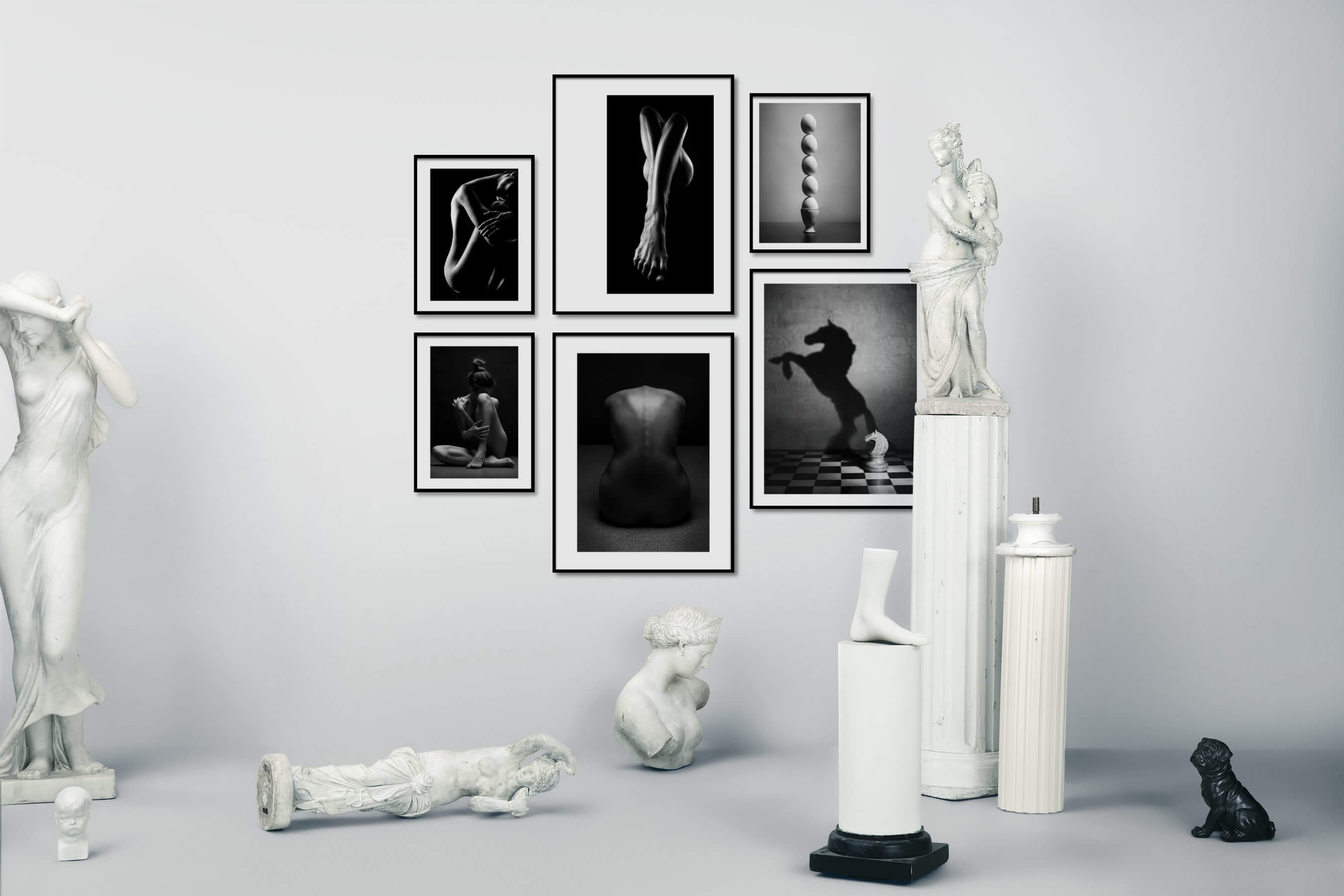 Gallery wall idea with six framed pictures arranged on a wall depicting Fashion & Beauty, Black & White, For the Minimalist, Artsy, and Animals