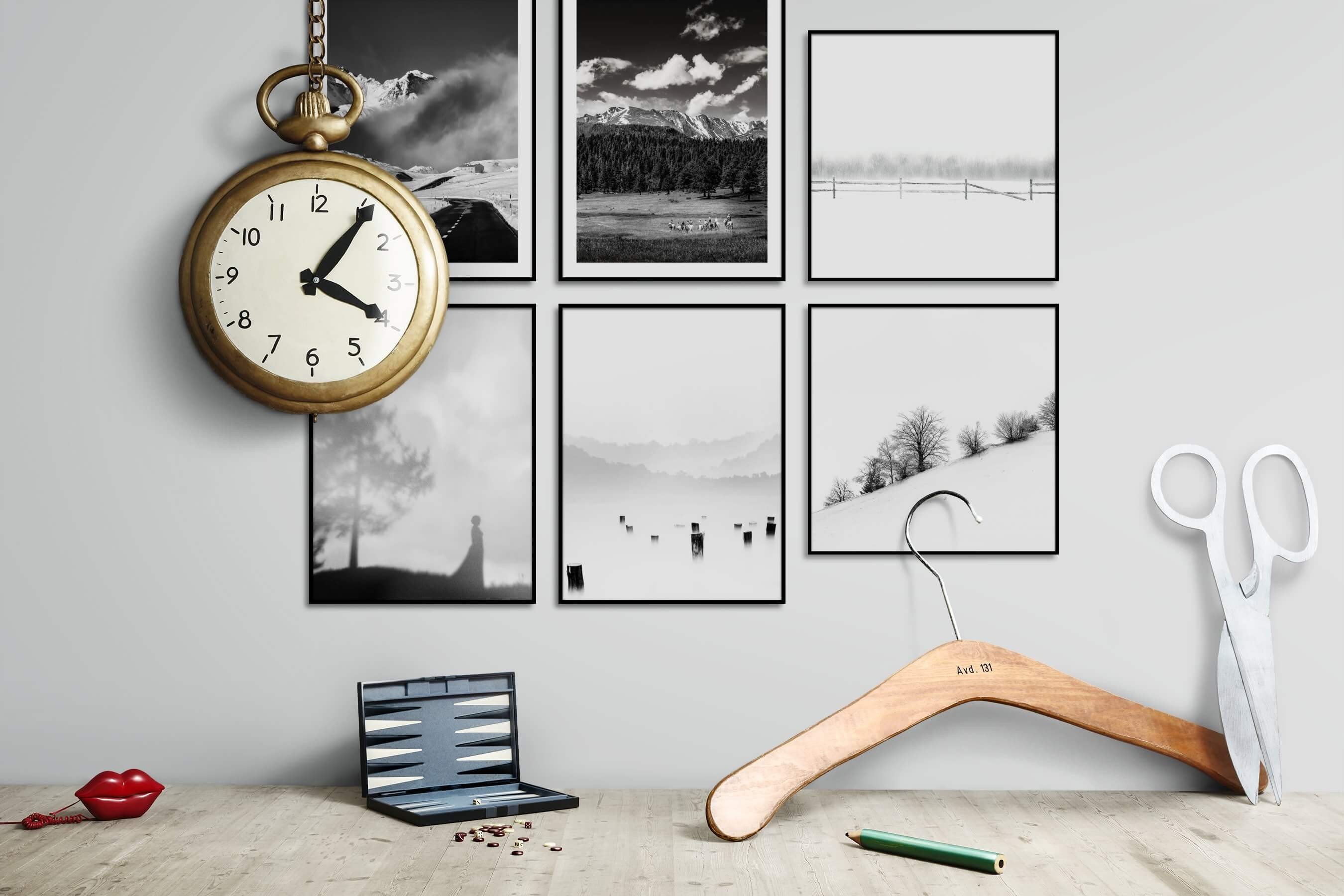 Gallery wall idea with six framed pictures arranged on a wall depicting Black & White, Country Life, Nature, Bright Tones, For the Minimalist, and Mindfulness