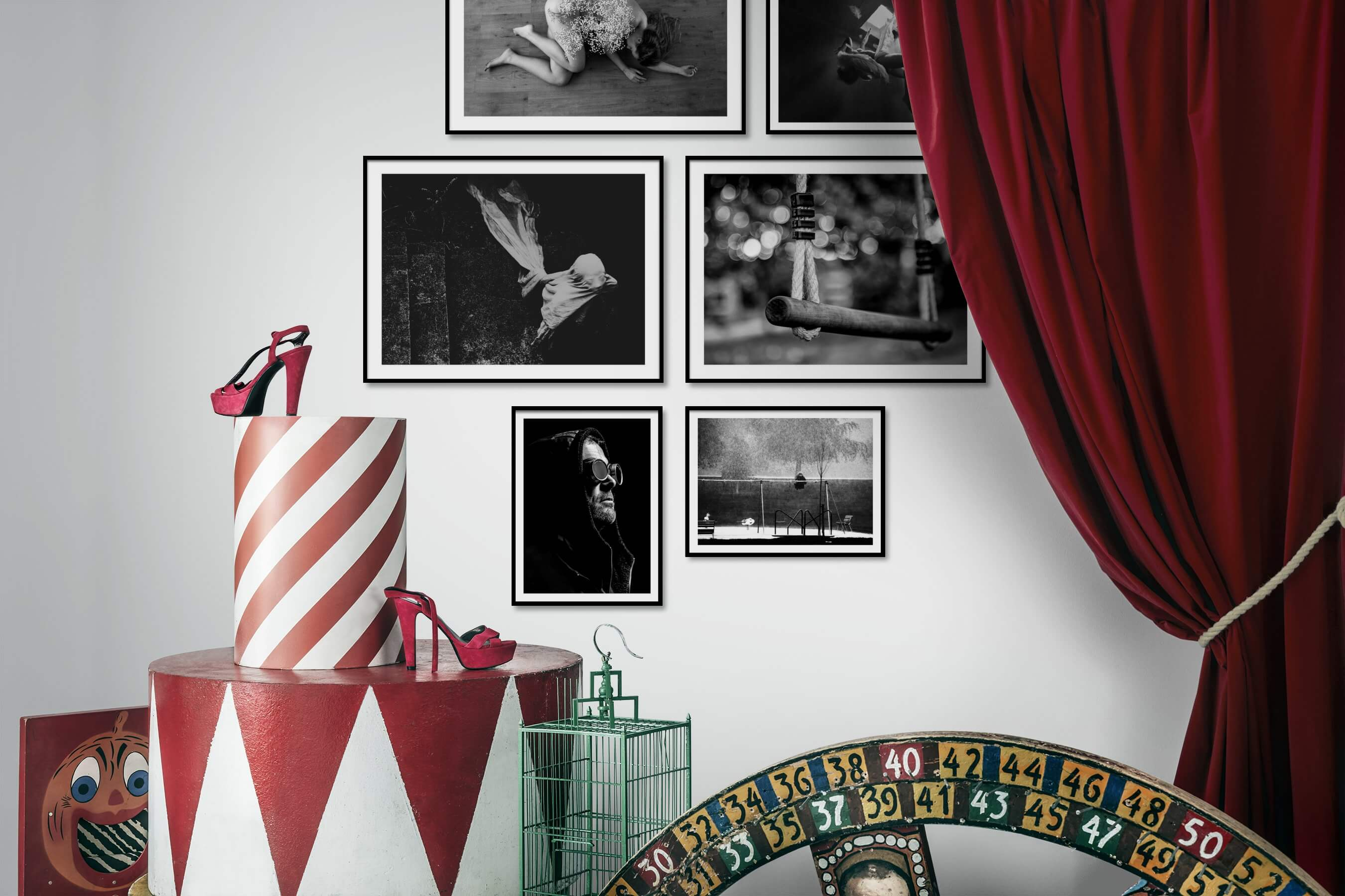 Gallery wall idea with six framed pictures arranged on a wall depicting Artsy, Black & White, and For the Moderate