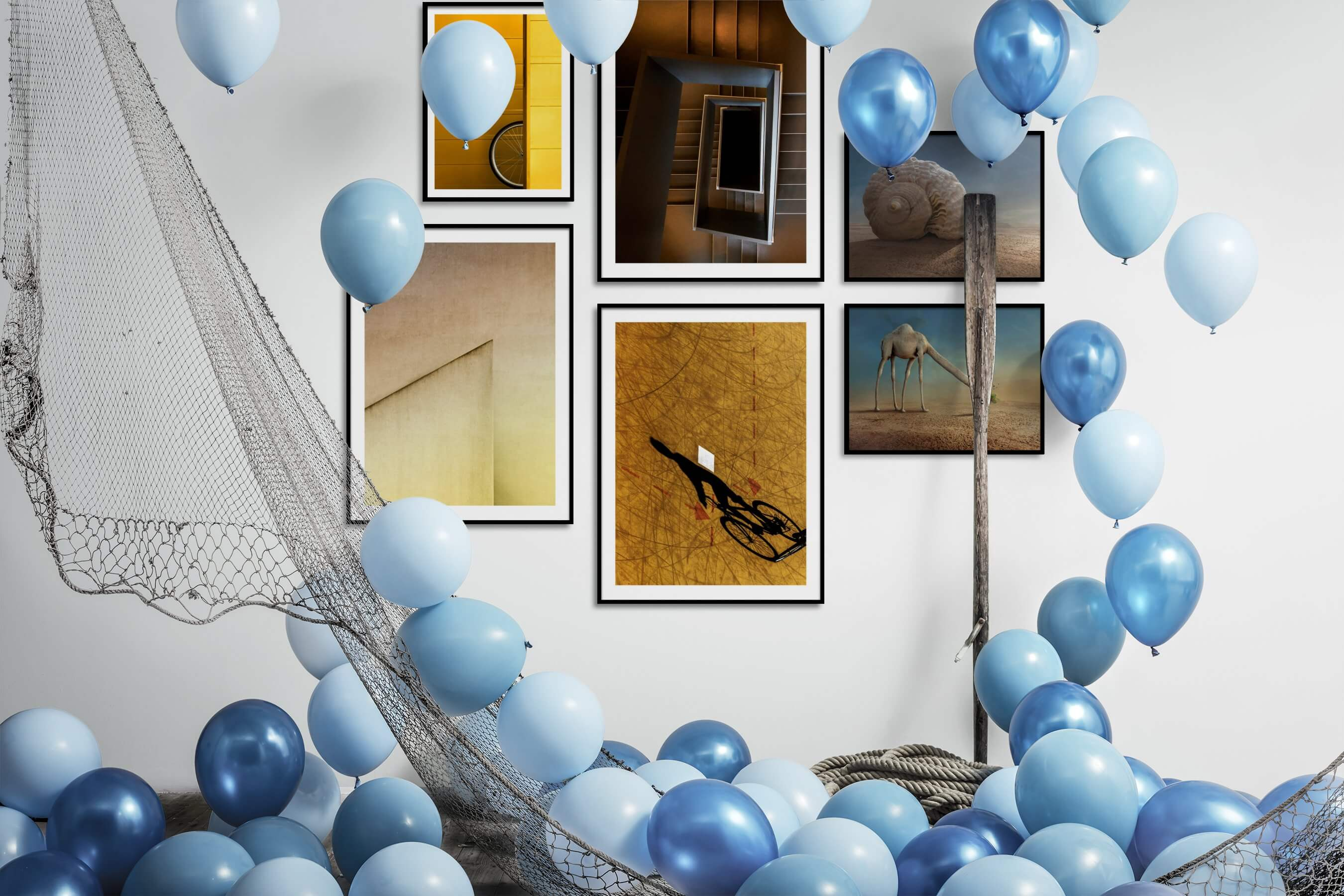 Gallery wall idea with six framed pictures arranged on a wall depicting For the Moderate, For the Minimalist, Artsy, Nature, and Animals