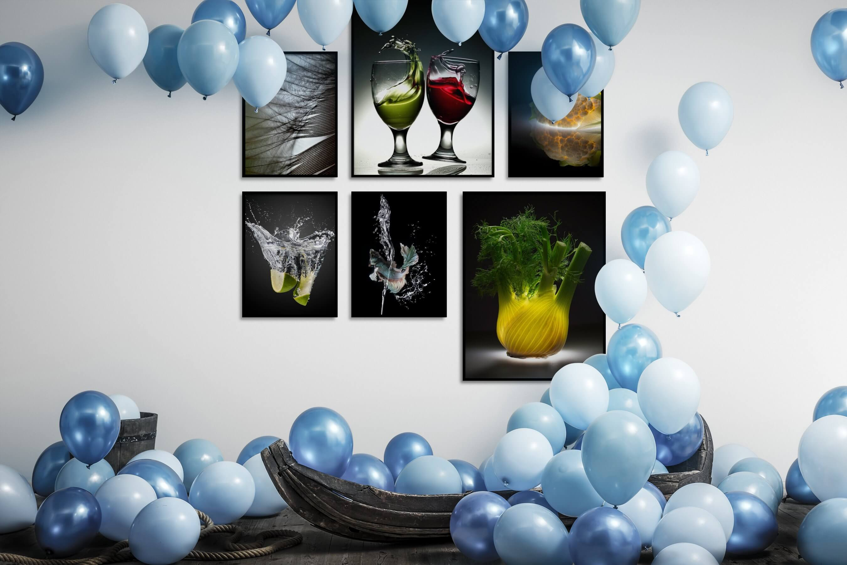 Gallery wall idea with six framed pictures arranged on a wall depicting For the Moderate, Beach & Water, Dark Tones, Animals, Flowers & Plants, and For the Minimalist
