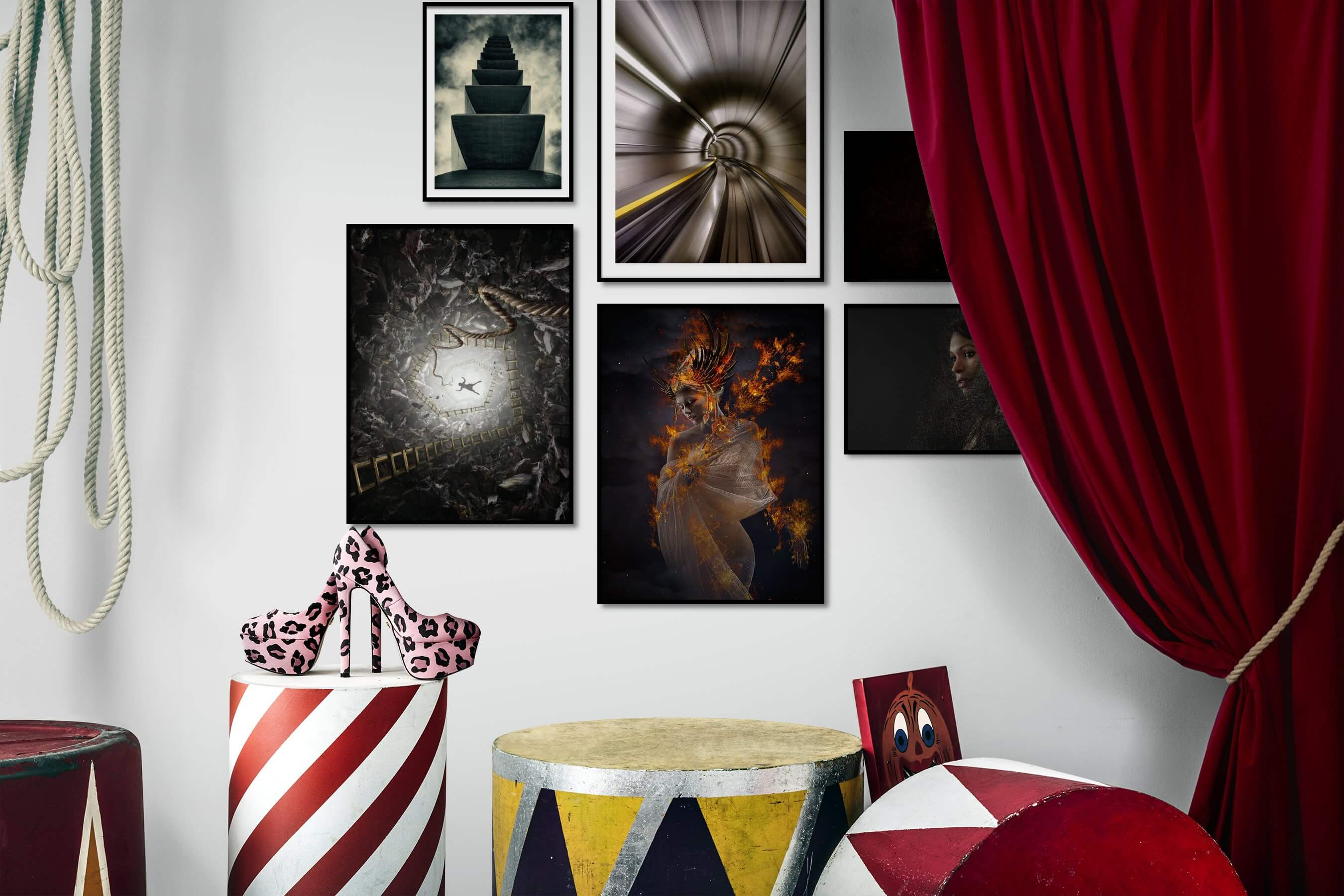 Gallery wall idea with six framed pictures arranged on a wall depicting Black & White, For the Moderate, Artsy, Dark Tones, For the Minimalist, and Fashion & Beauty