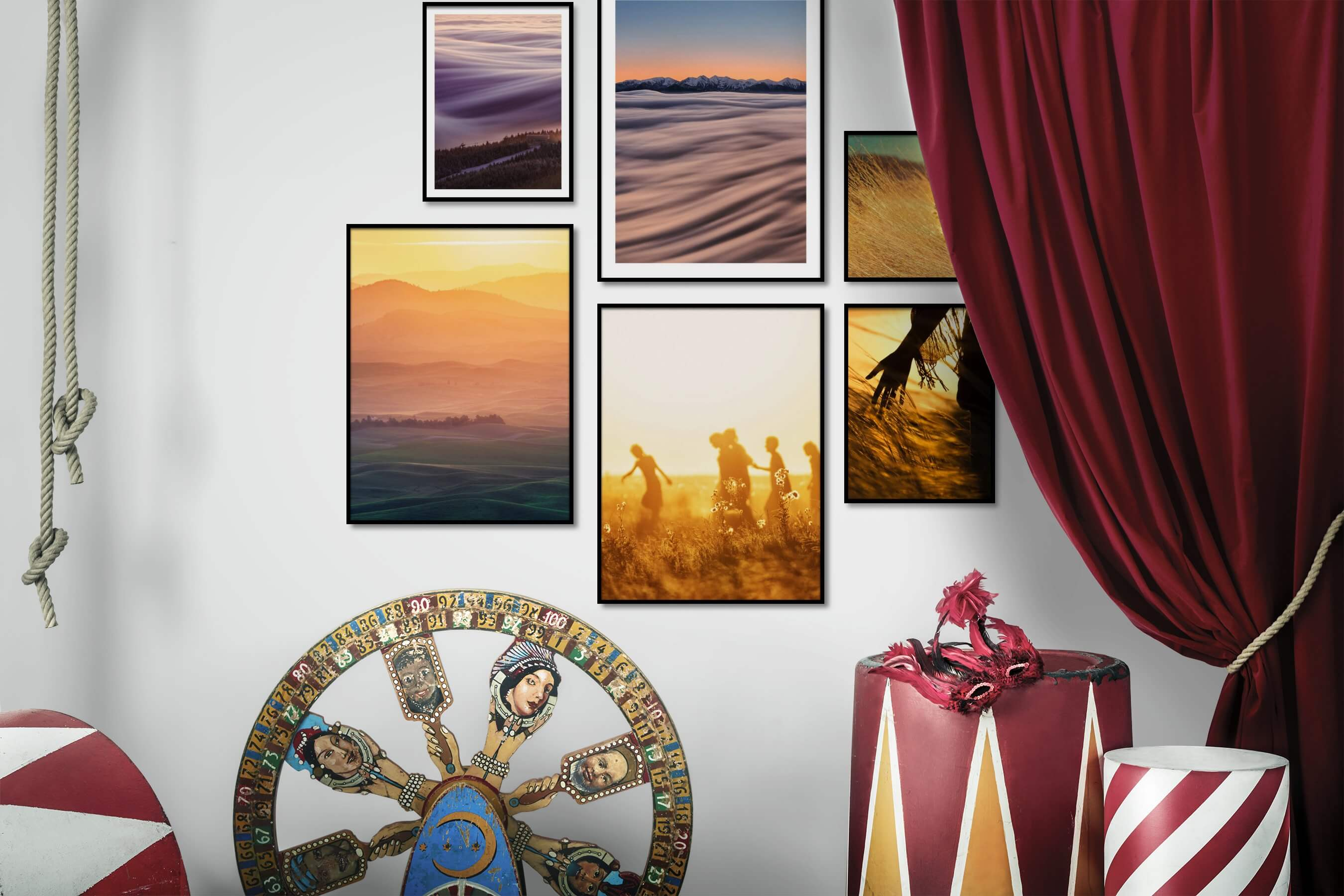 Gallery wall idea with six framed pictures arranged on a wall depicting For the Moderate, Nature, Mindfulness, and Country Life