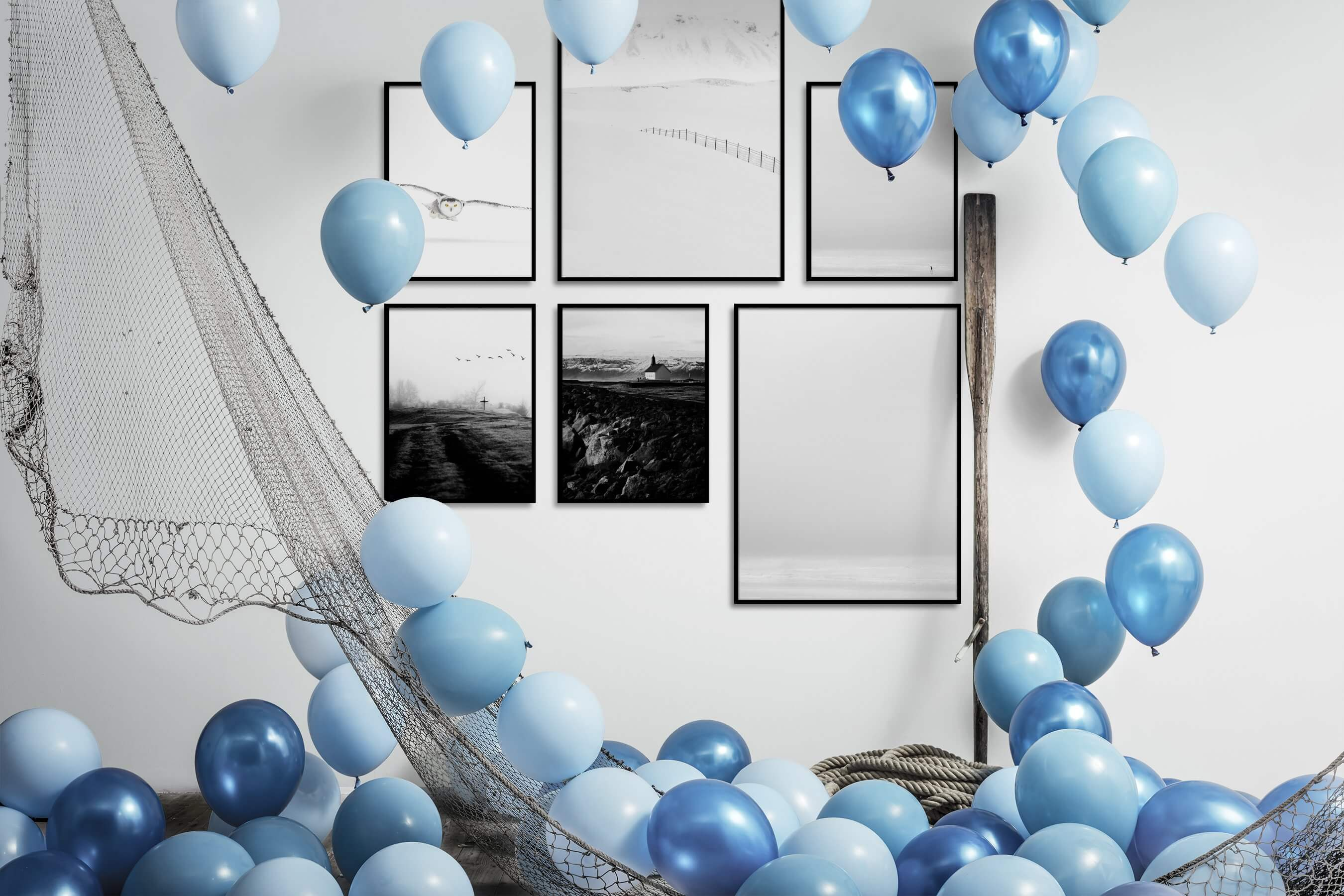 Gallery wall idea with six framed pictures arranged on a wall depicting Bright Tones, For the Minimalist, Animals, Black & White, Country Life, Beach & Water, and Mindfulness