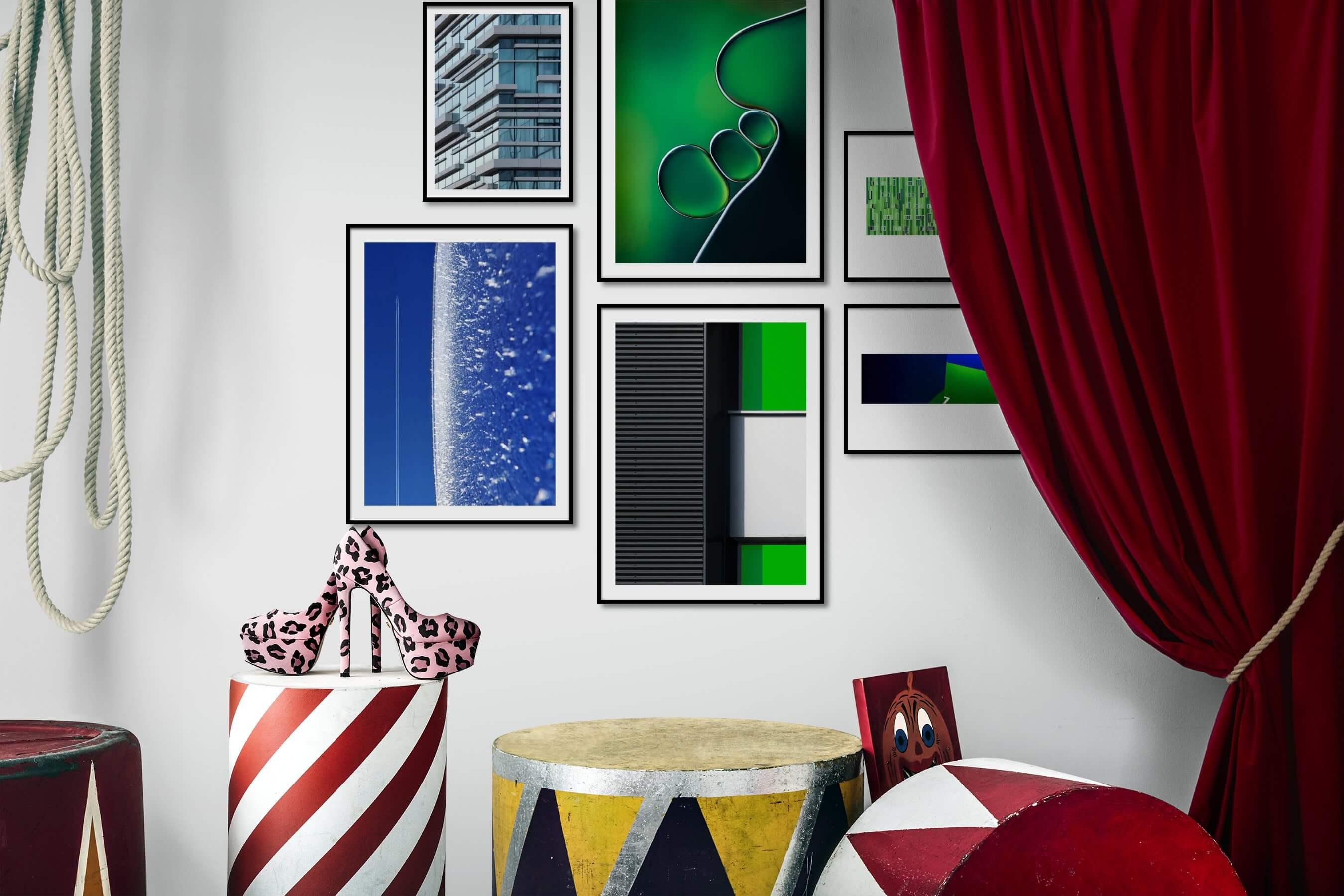 Gallery wall idea with six framed pictures arranged on a wall depicting For the Maximalist, City Life, For the Minimalist, and For the Moderate