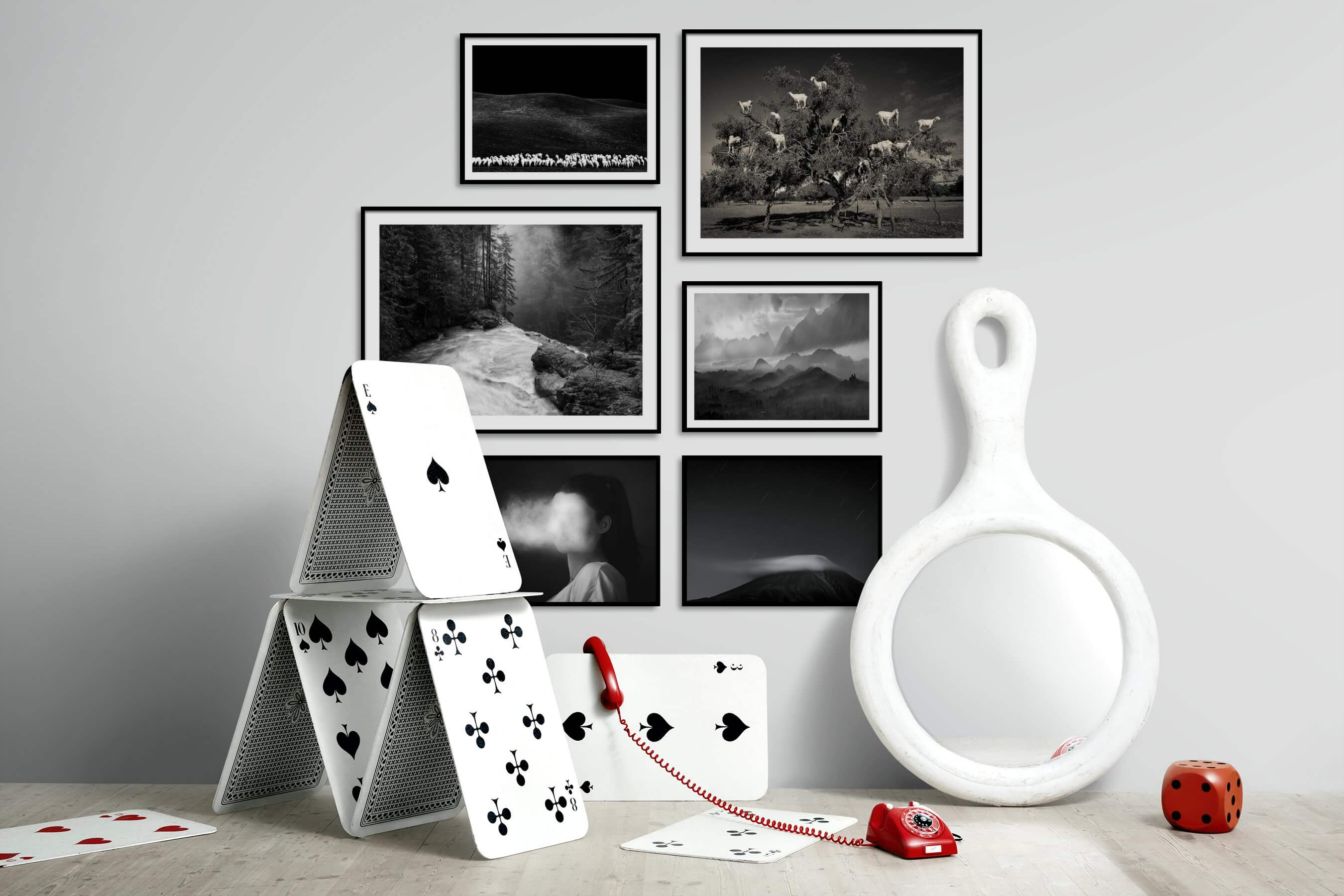 Gallery wall idea with six framed pictures arranged on a wall depicting Black & White, Animals, Country Life, Nature, Artsy, Dark Tones, For the Minimalist, and Mindfulness