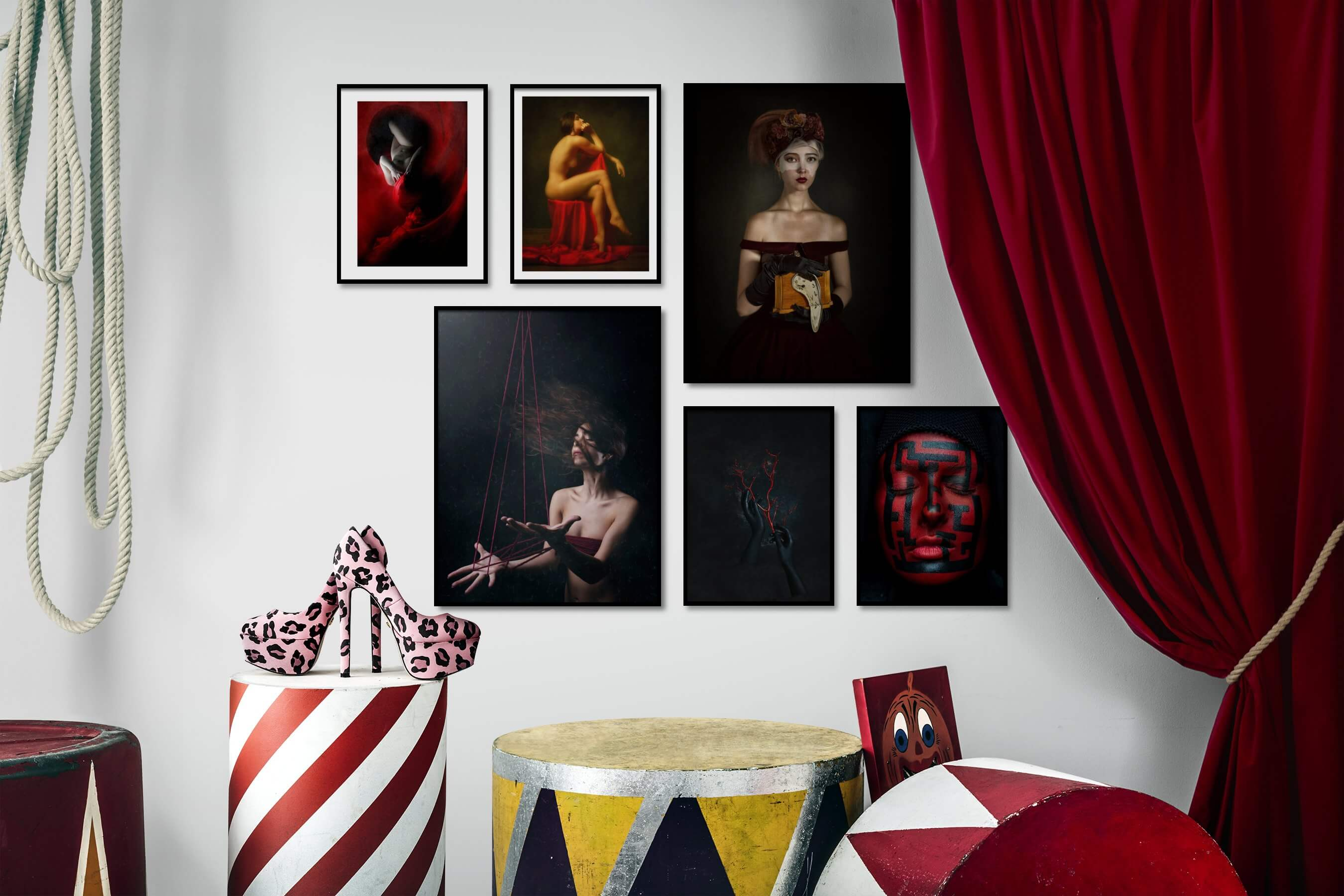 Gallery wall idea with six framed pictures arranged on a wall depicting Artsy, Bold, Fashion & Beauty, Dark Tones, and For the Minimalist