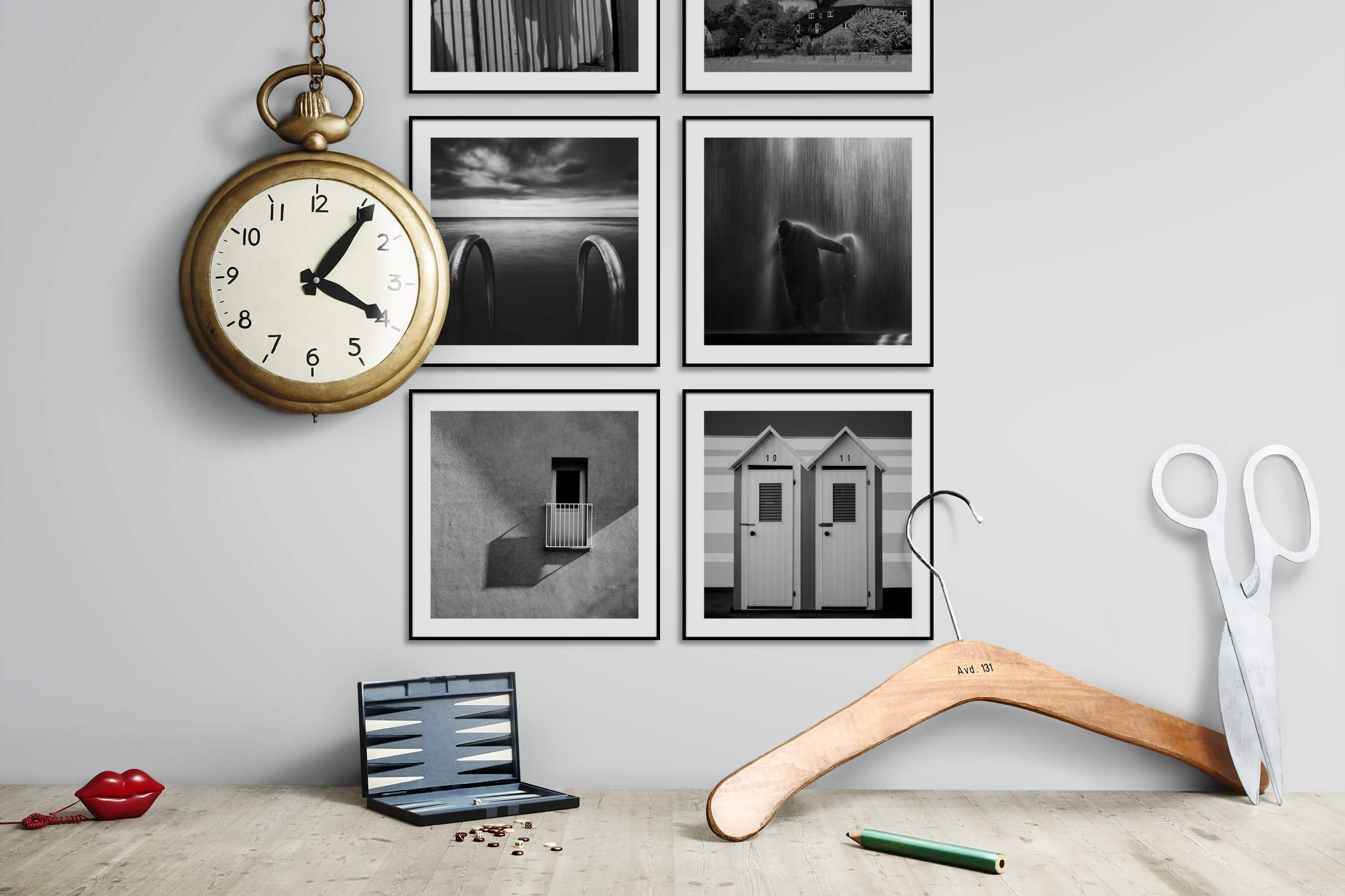 Gallery wall idea with six framed pictures arranged on a wall depicting Black & White, Animals, Beach & Water, Artsy, For the Minimalist, and For the Moderate