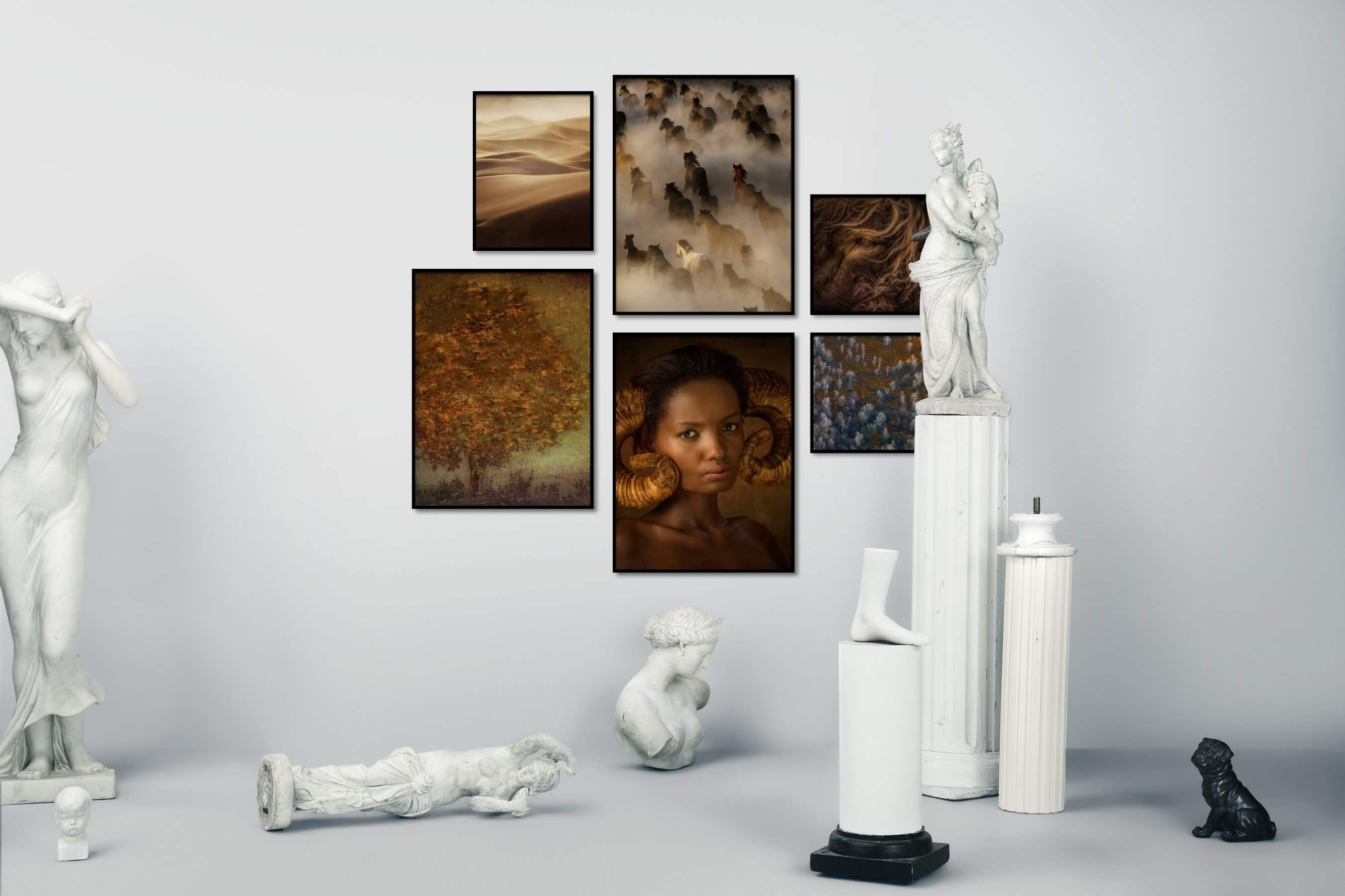 Gallery wall idea with six framed pictures arranged on a wall depicting For the Moderate, Nature, Mindfulness, Animals, Country Life, and Artsy