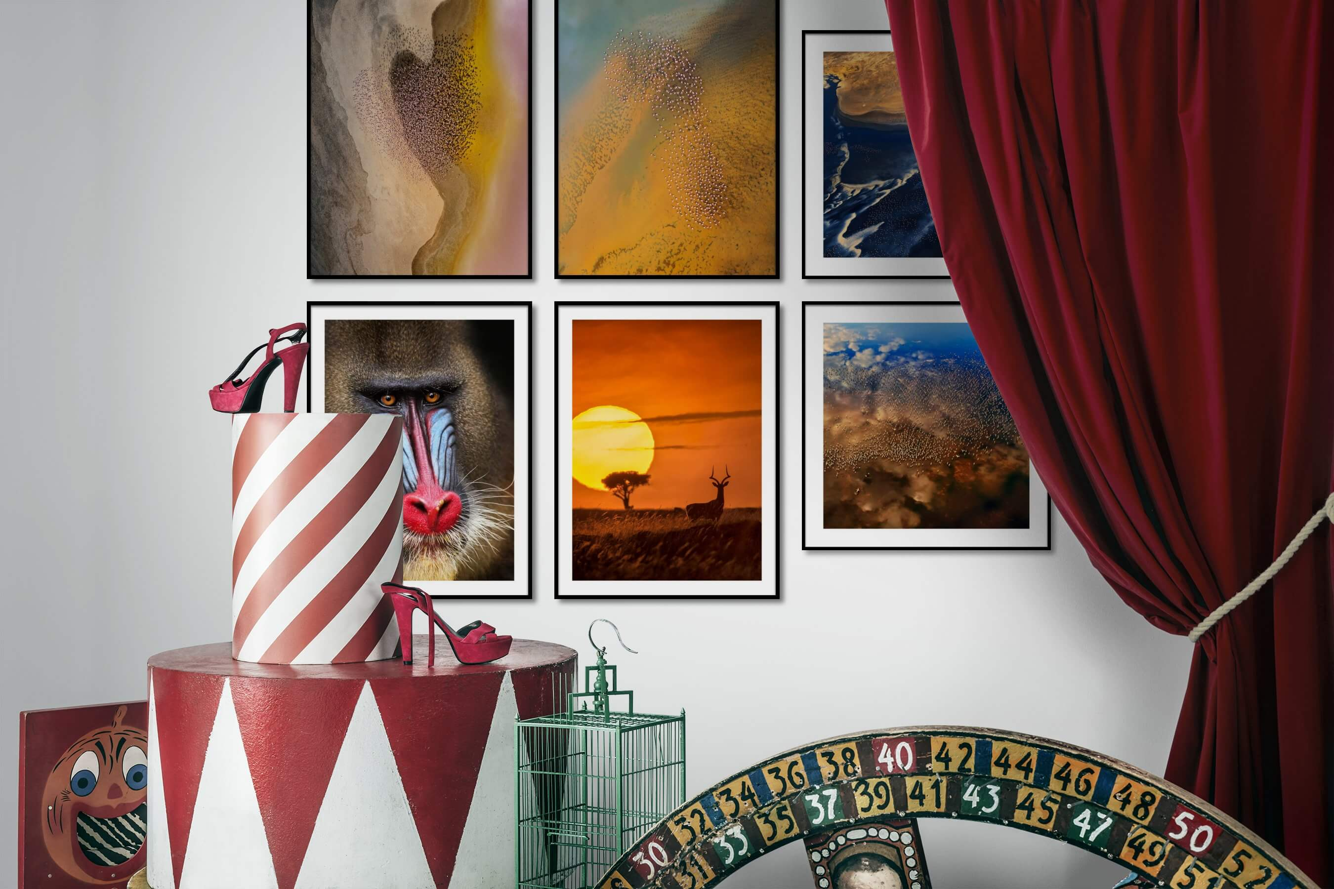 Gallery wall idea with six framed pictures arranged on a wall depicting For the Moderate, Nature, and Animals