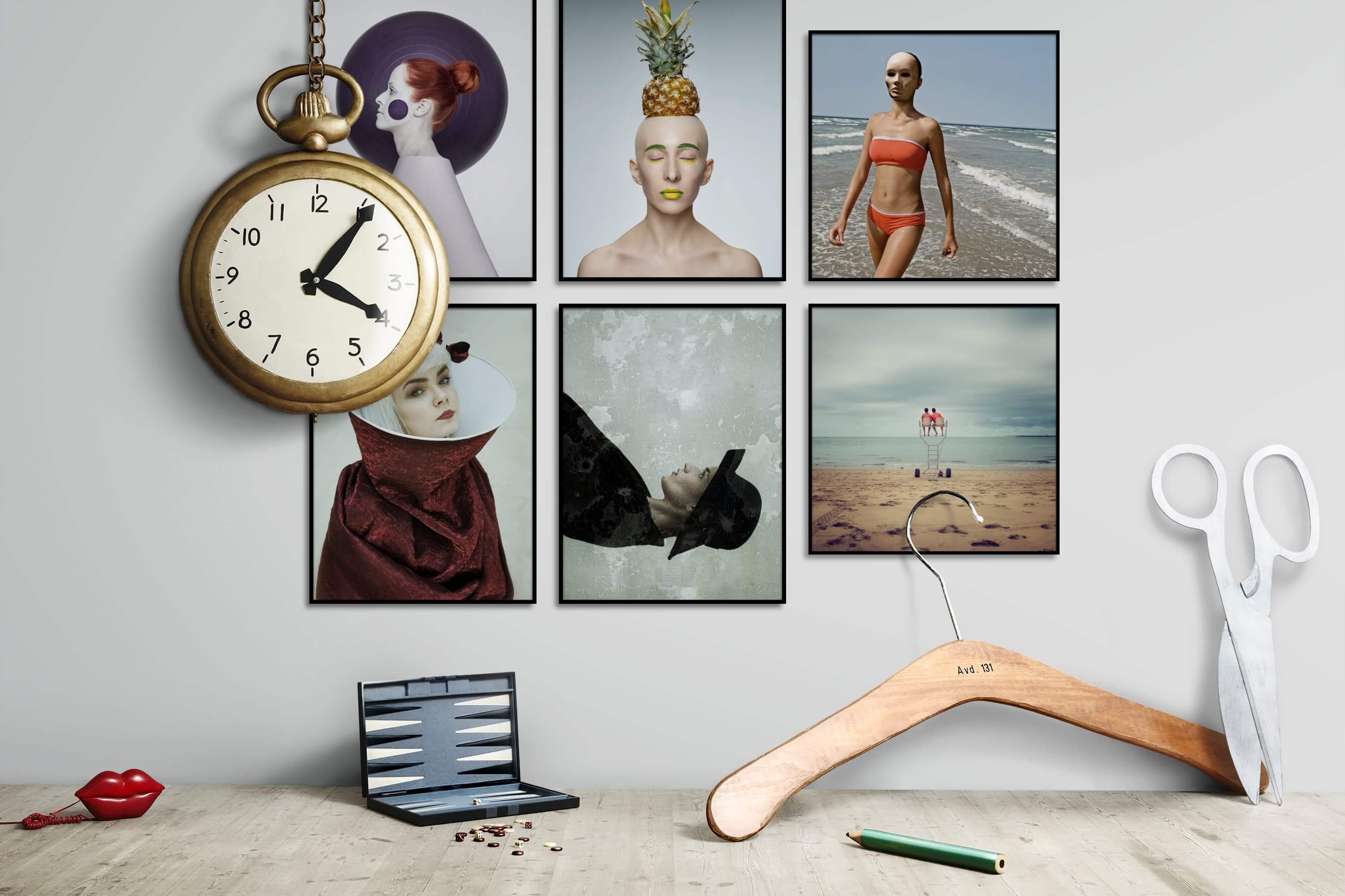Gallery wall idea with six framed pictures arranged on a wall depicting Artsy, Fashion & Beauty, For the Moderate, For the Minimalist, Vintage, and Beach & Water