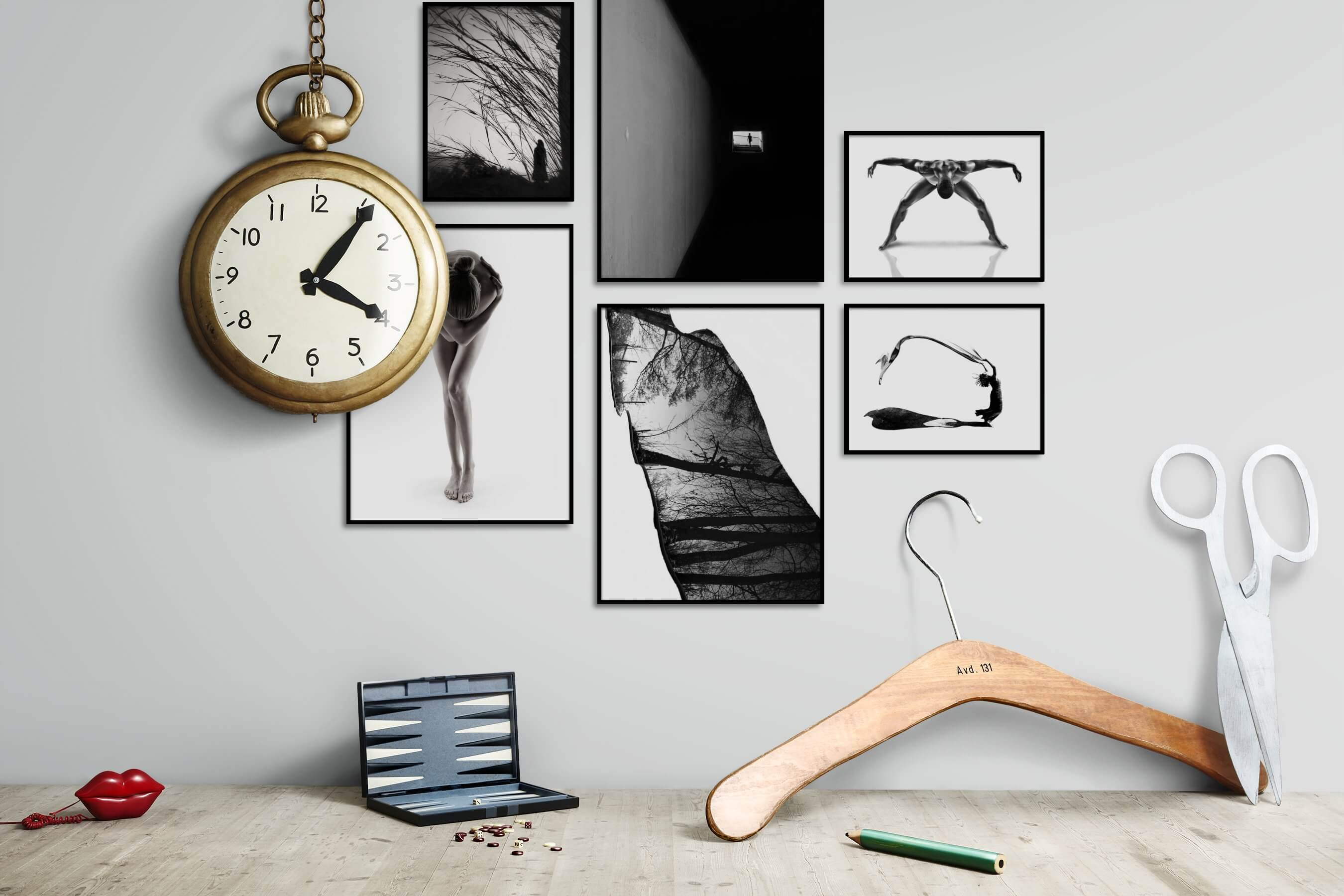 Gallery wall idea with six framed pictures arranged on a wall depicting Artsy, Black & White, For the Minimalist, Fashion & Beauty, Bright Tones, For the Moderate, and Nature