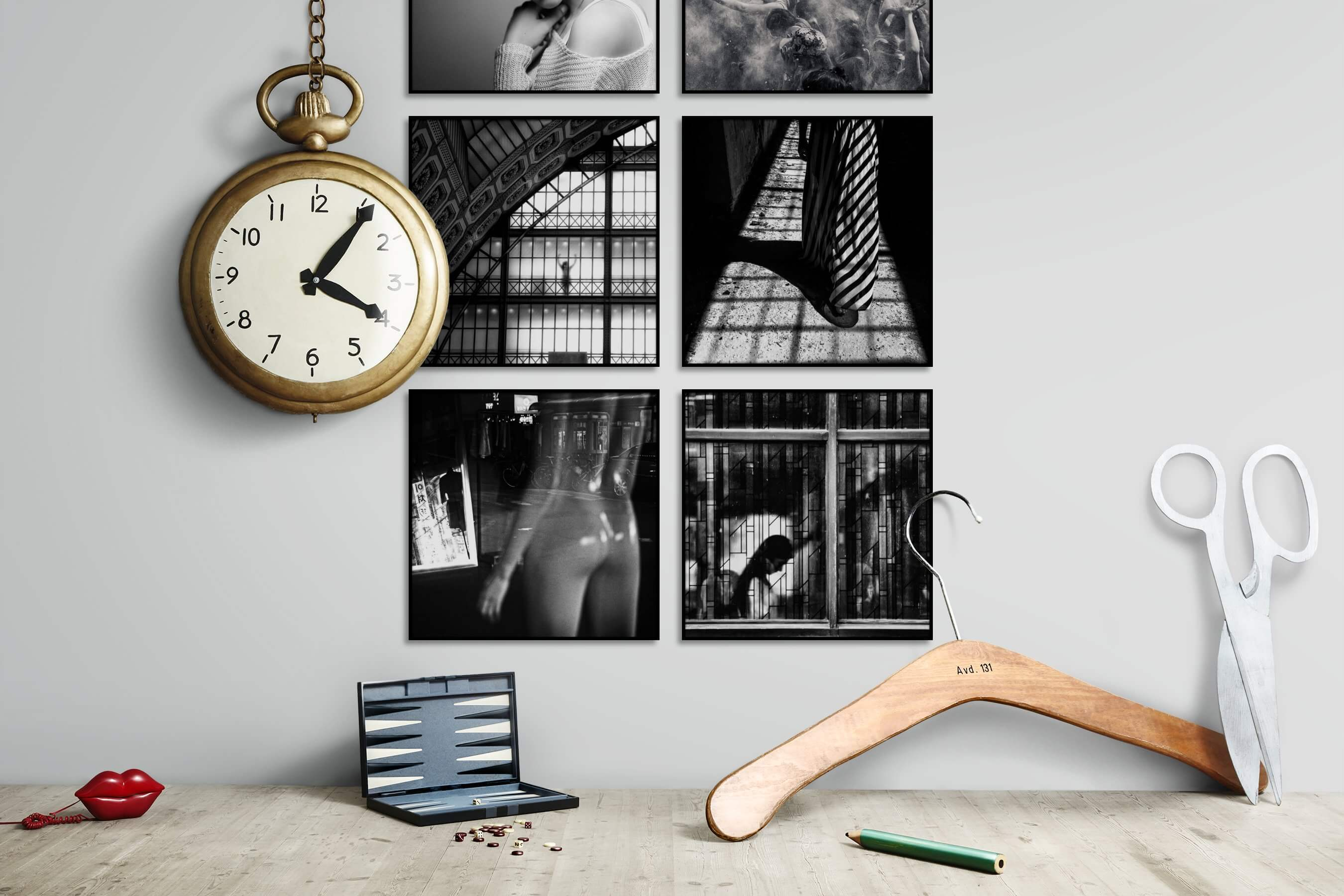 Gallery wall idea with six framed pictures arranged on a wall depicting Fashion & Beauty, Black & White, For the Moderate, Artsy, City Life, and For the Maximalist