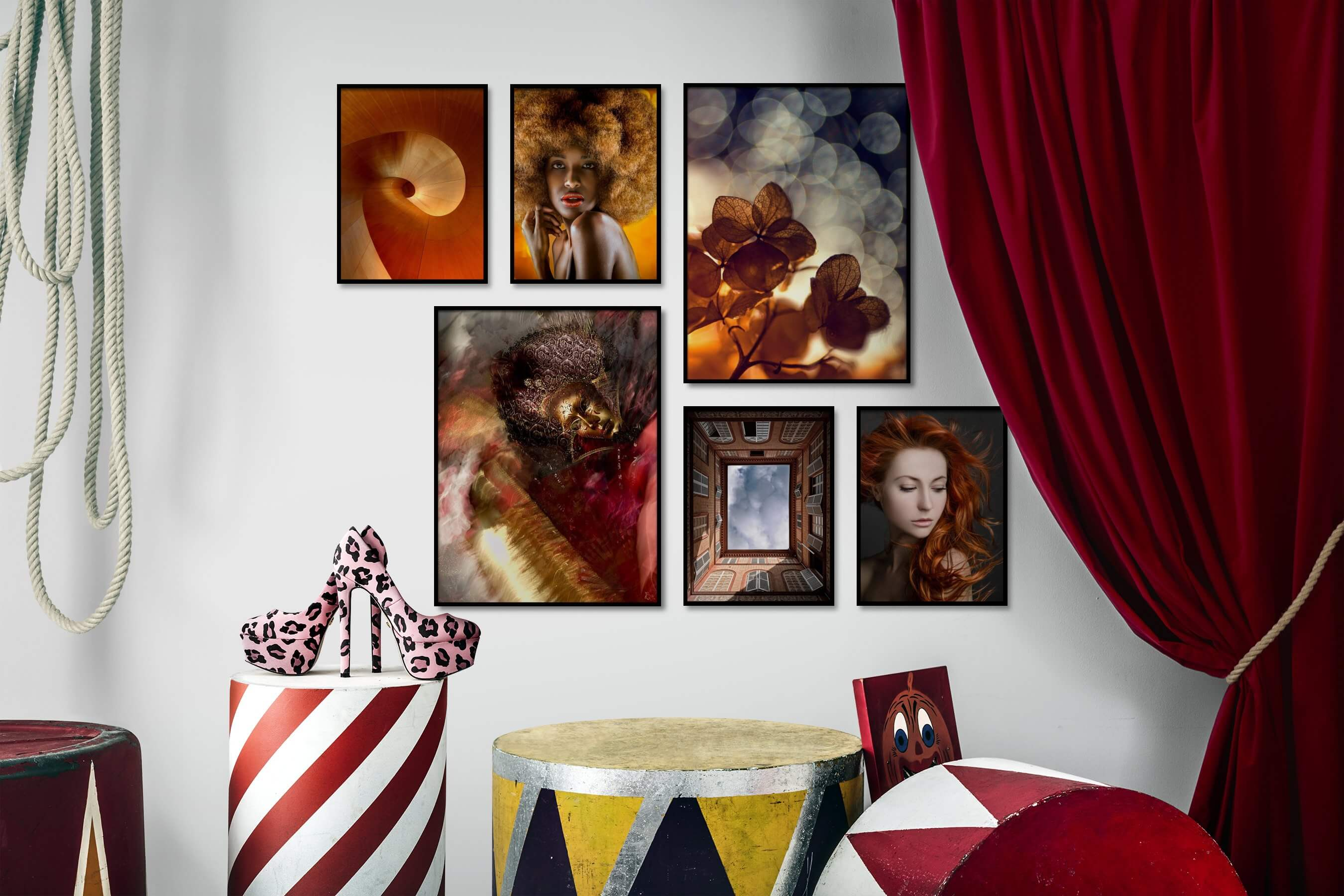Gallery wall idea with six framed pictures arranged on a wall depicting For the Moderate, Fashion & Beauty, Vintage, Artsy, For the Maximalist, and Flowers & Plants