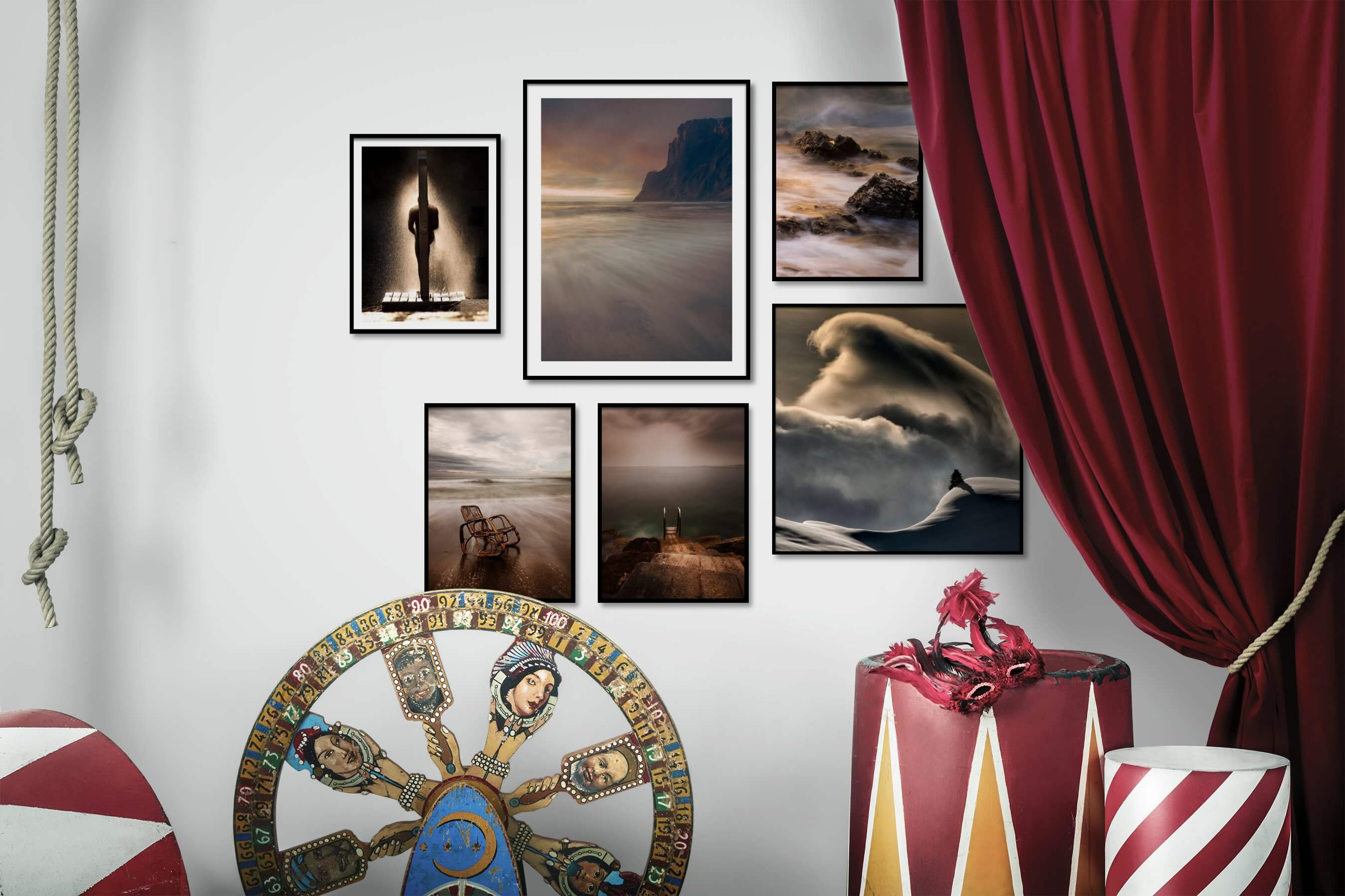 Gallery wall idea with six framed pictures arranged on a wall depicting For the Moderate, Beach & Water, Mindfulness, and Nature