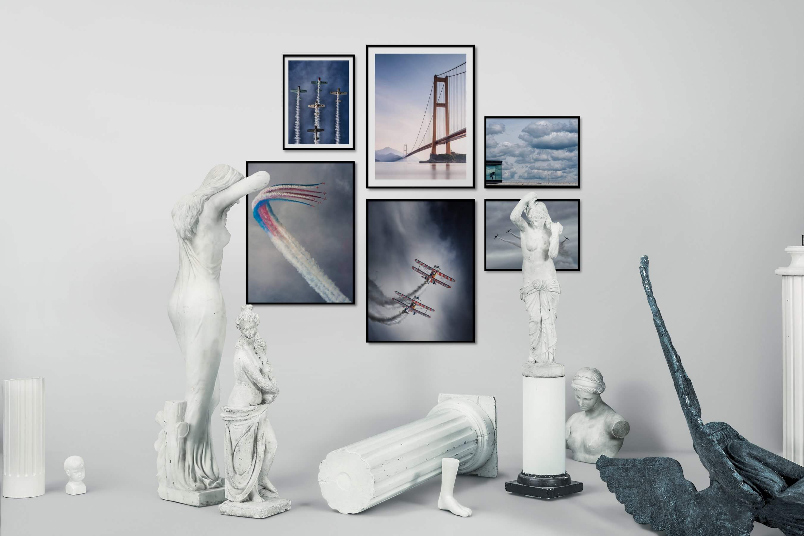 Gallery wall idea with six framed pictures arranged on a wall depicting For the Moderate and For the Minimalist