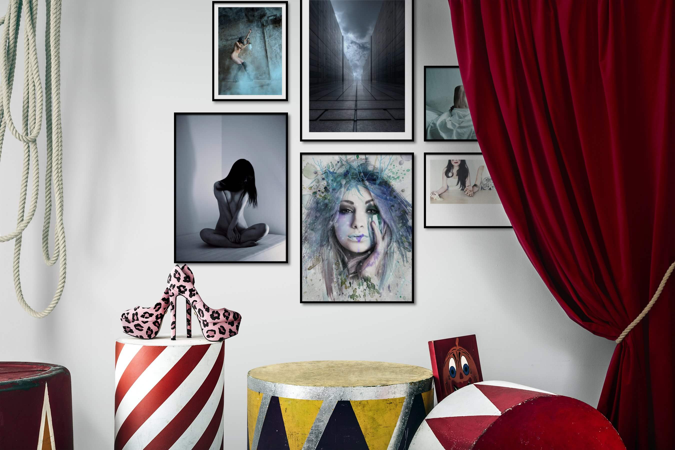 Gallery wall idea with six framed pictures arranged on a wall depicting Artsy, Bold, For the Moderate, Fashion & Beauty, and Black & White