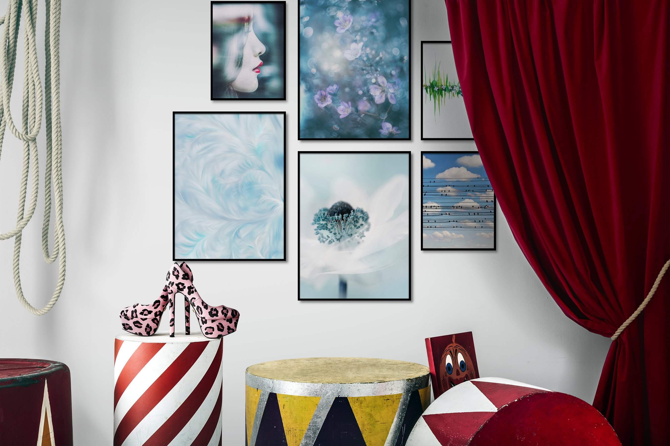 Gallery wall idea with six framed pictures arranged on a wall depicting Fashion & Beauty, Flowers & Plants, For the Moderate, Mindfulness, For the Minimalist, Vintage, and Animals