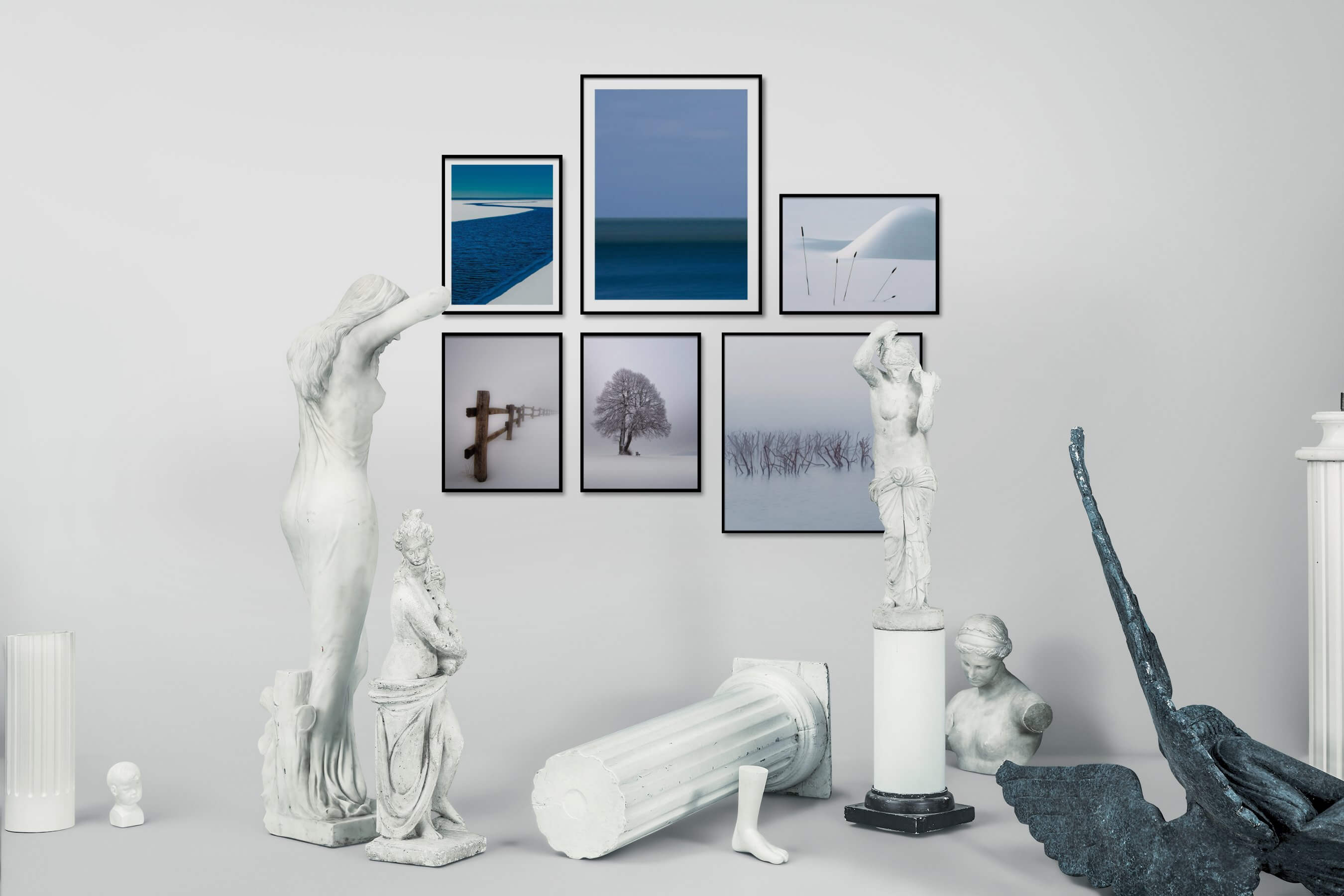 Gallery wall idea with six framed pictures arranged on a wall depicting For the Minimalist, Beach & Water, Mindfulness, Country Life, and Nature