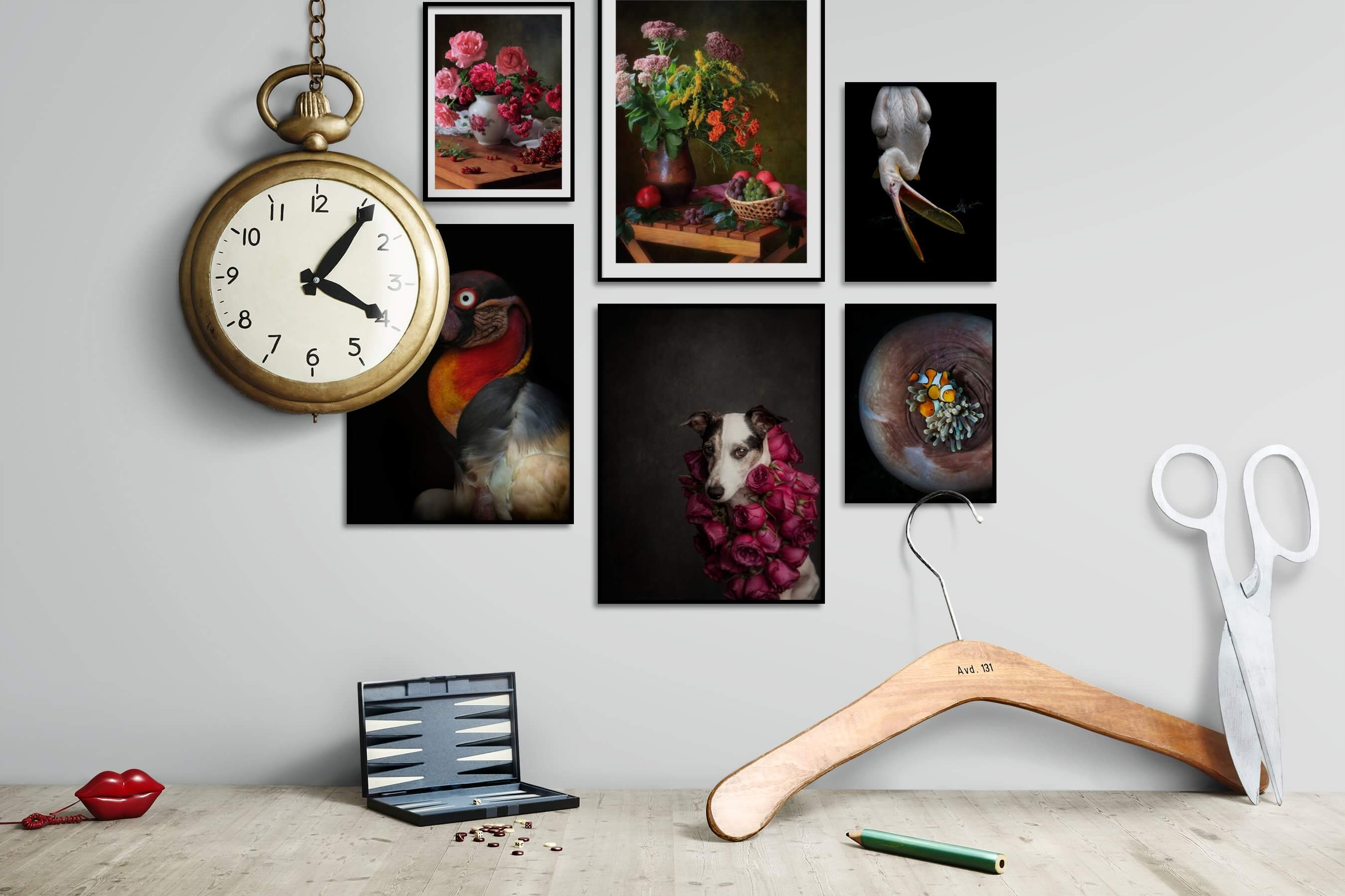 Gallery wall idea with six framed pictures arranged on a wall depicting Flowers & Plants, Vintage, Dark Tones, For the Moderate, Animals, and For the Minimalist