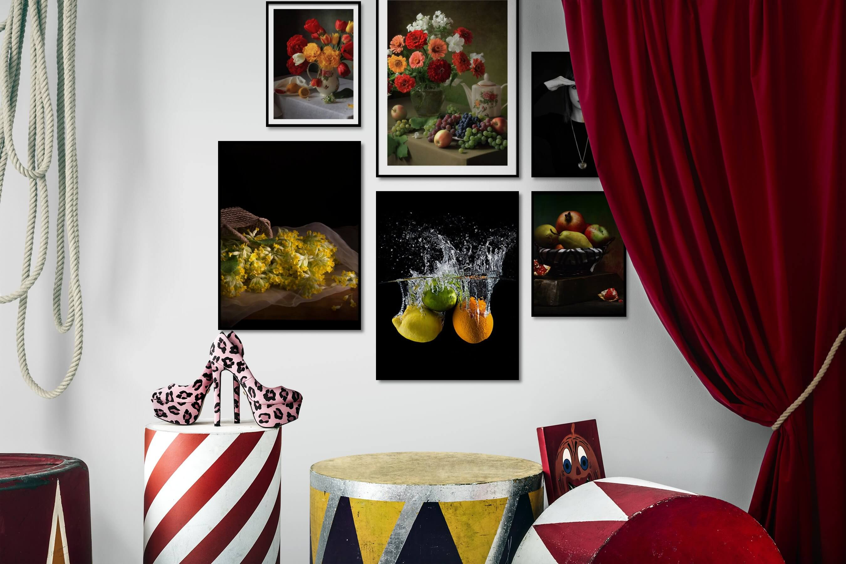Gallery wall idea with six framed pictures arranged on a wall depicting Flowers & Plants, Vintage, Dark Tones, Beach & Water, and Fashion & Beauty