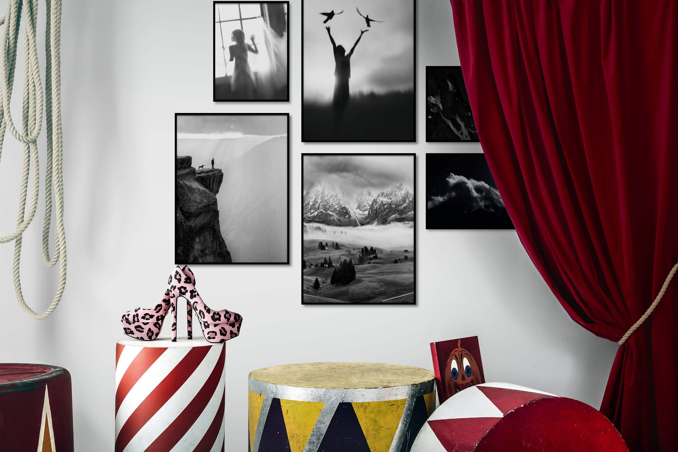 Gallery wall idea with six framed pictures arranged on a wall depicting Fashion & Beauty, Black & White, Animals, Country Life, Nature, Mindfulness, and Dark Tones