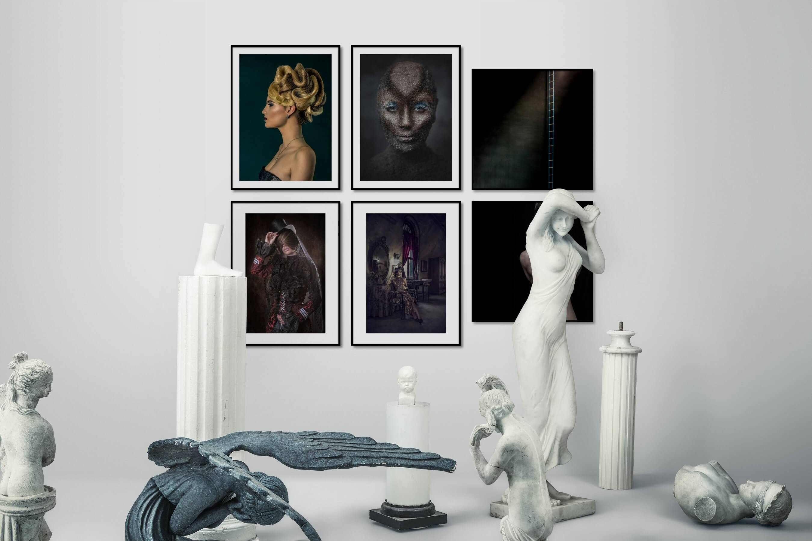 Gallery wall idea with six framed pictures arranged on a wall depicting Fashion & Beauty, Artsy, Vintage, Dark Tones, and For the Minimalist