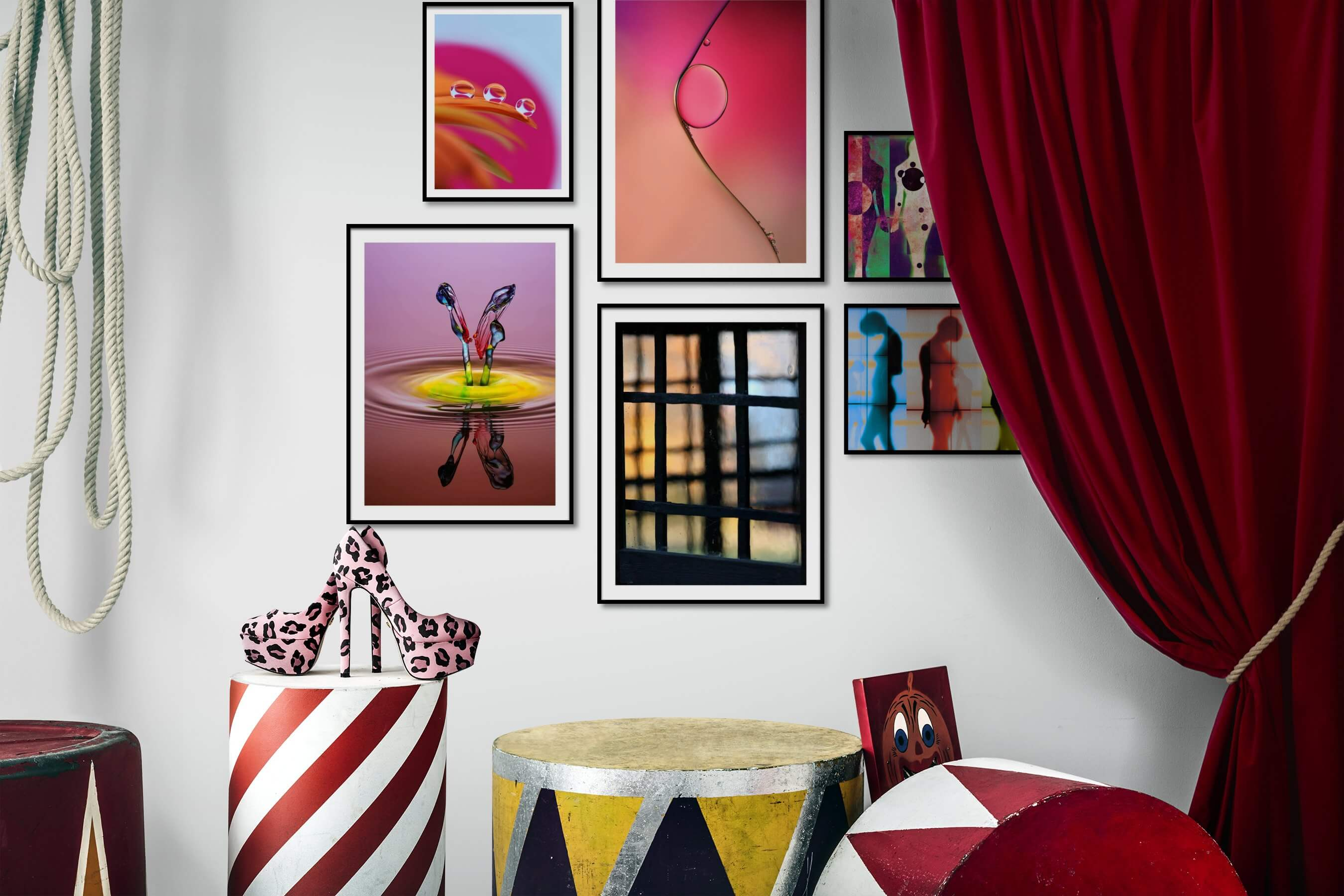 Gallery wall idea with six framed pictures arranged on a wall depicting Colorful, For the Moderate, Flowers & Plants, For the Minimalist, Artsy, and For the Maximalist