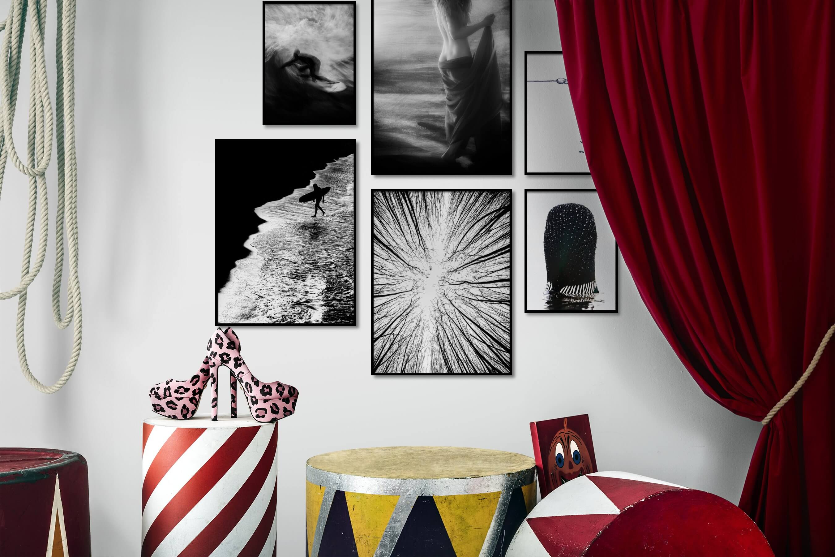 Gallery wall idea with six framed pictures arranged on a wall depicting Black & White, For the Moderate, Beach & Water, Fashion & Beauty, Dark Tones, Nature, Bright Tones, For the Minimalist, and Mindfulness