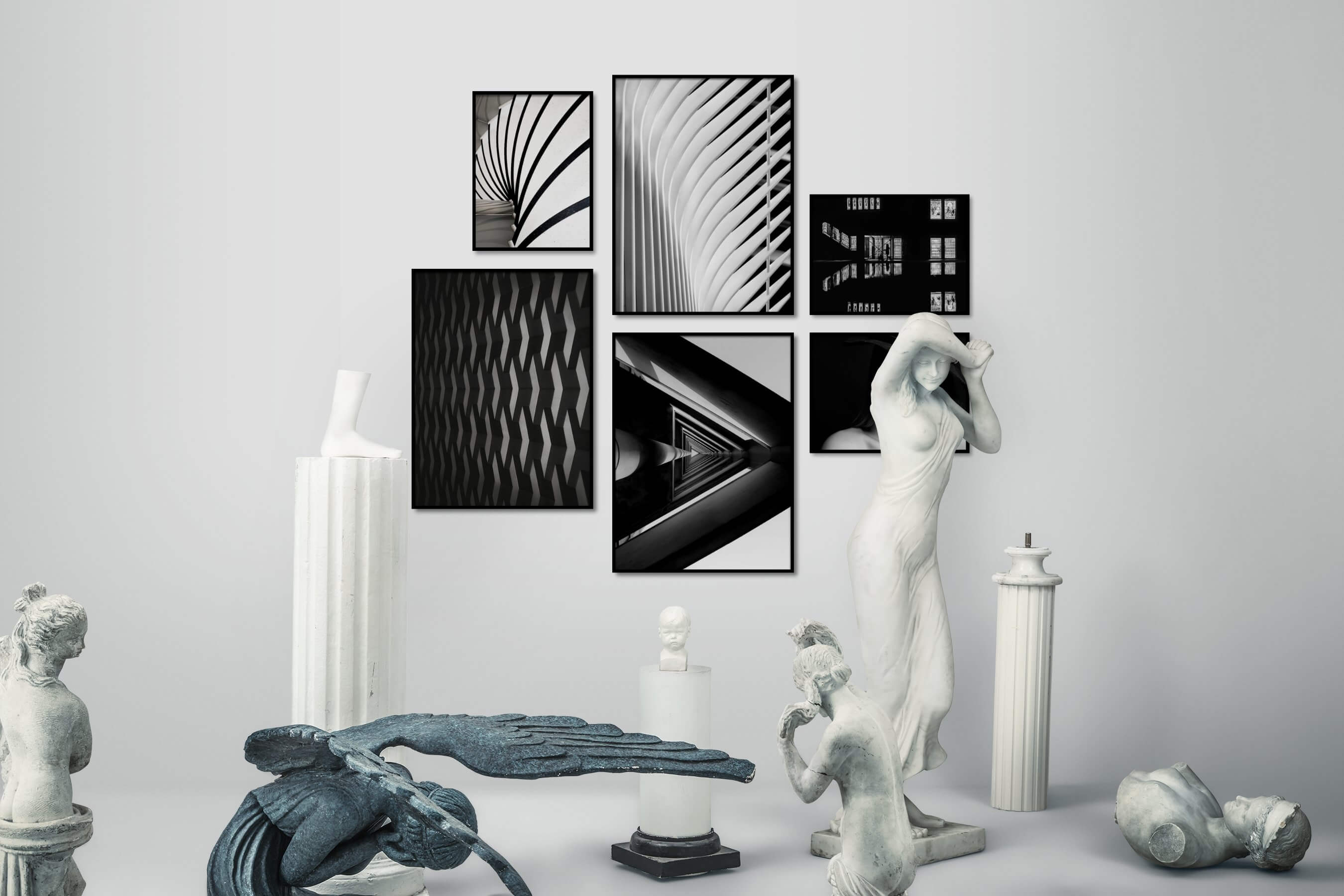 Gallery wall idea with six framed pictures arranged on a wall depicting Black & White, For the Moderate, For the Maximalist, Dark Tones, Fashion & Beauty, and For the Minimalist