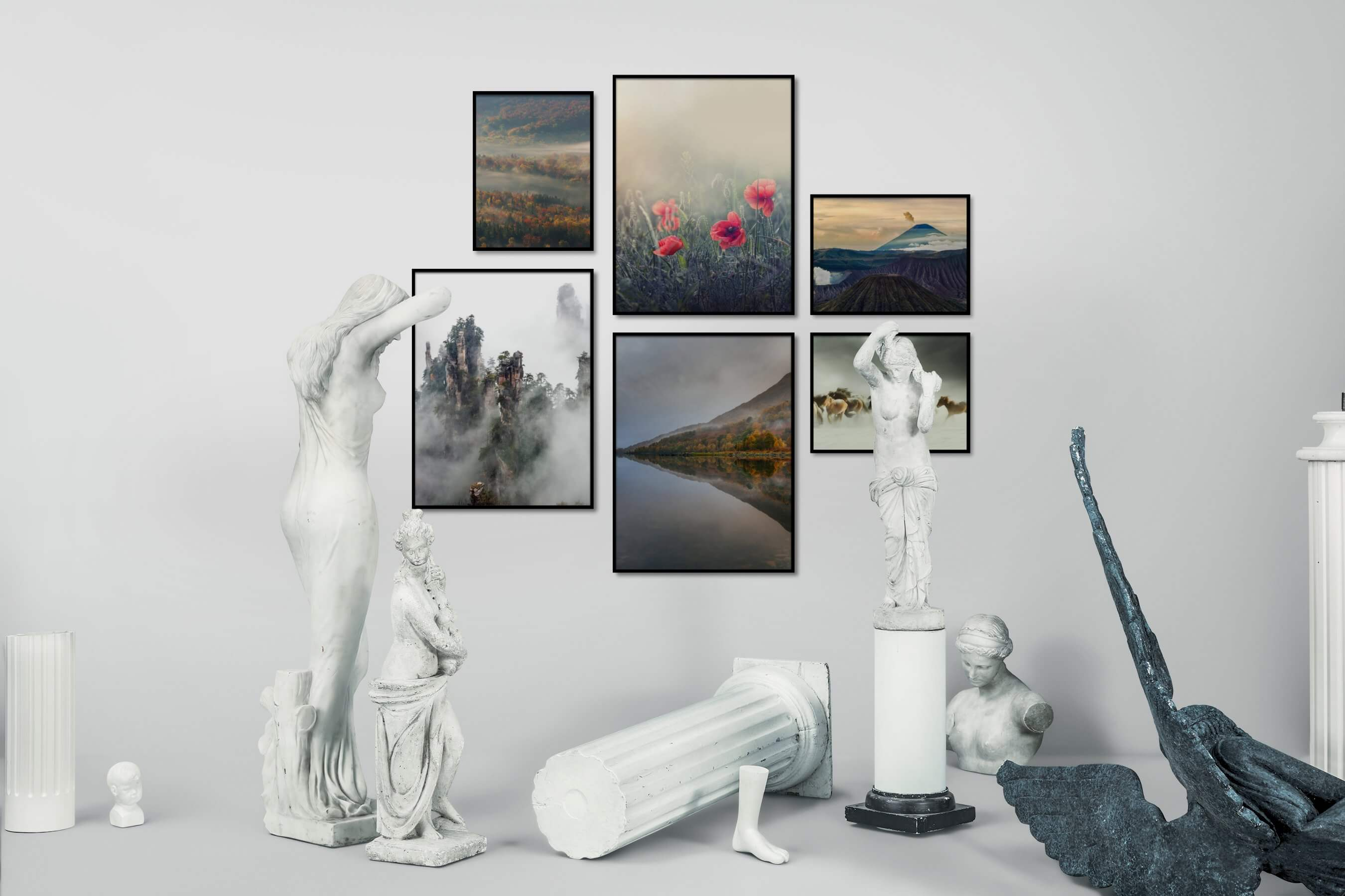 Gallery wall idea with six framed pictures arranged on a wall depicting Nature, Flowers & Plants, Mindfulness, For the Minimalist, Beach & Water, Animals, and Country Life