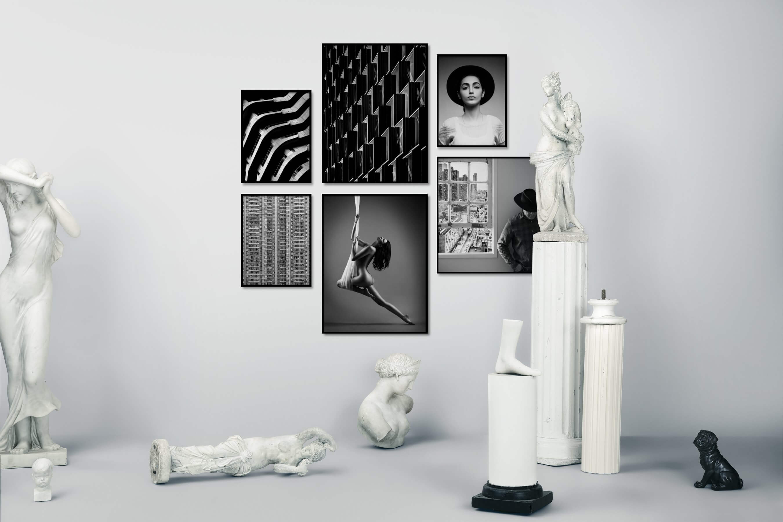 Gallery wall idea with six framed pictures arranged on a wall depicting Black & White, For the Maximalist, City Life, Fashion & Beauty, For the Minimalist, and Americana