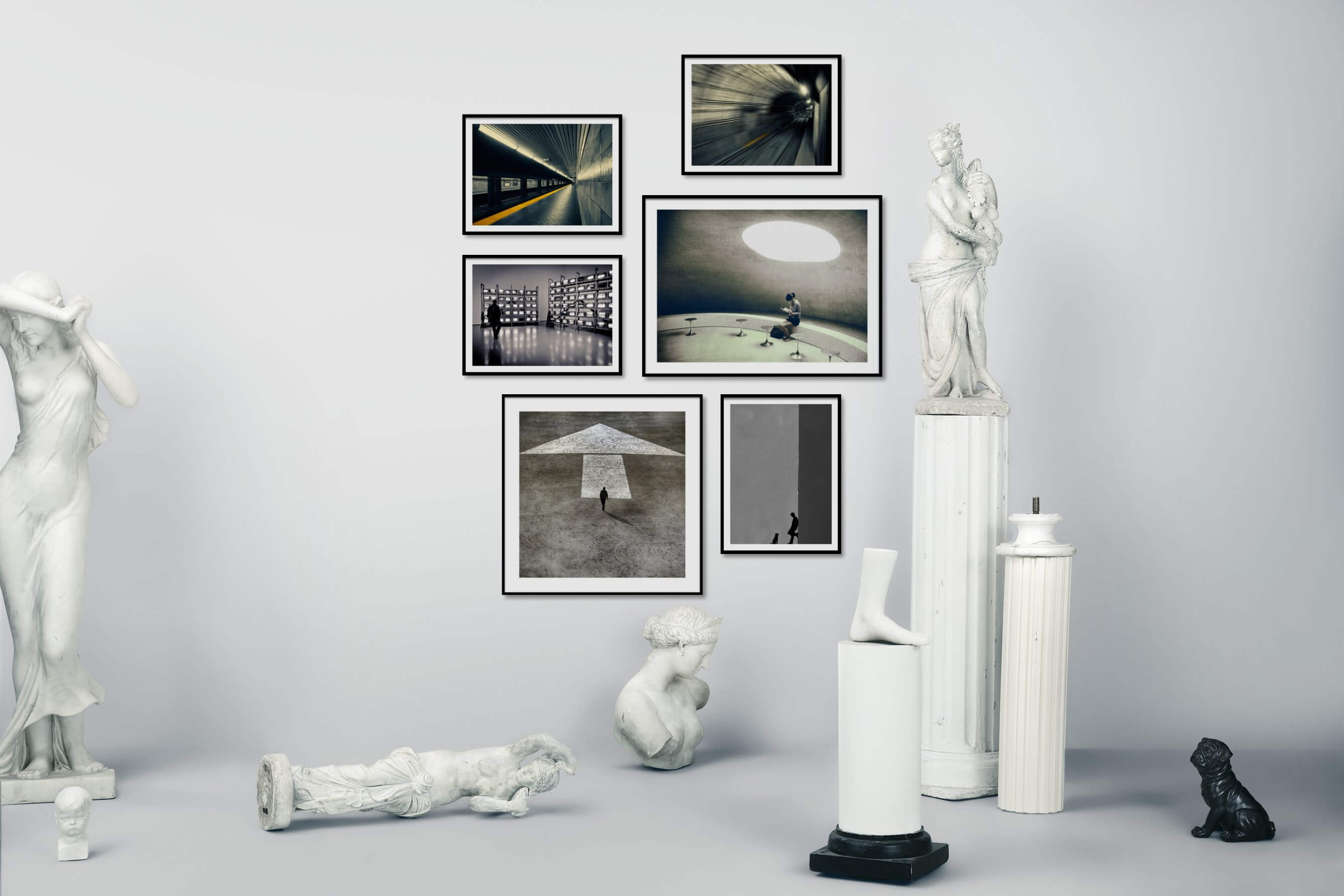 Gallery wall idea with six framed pictures arranged on a wall depicting City Life, For the Moderate, Artsy, Black & White, and For the Minimalist